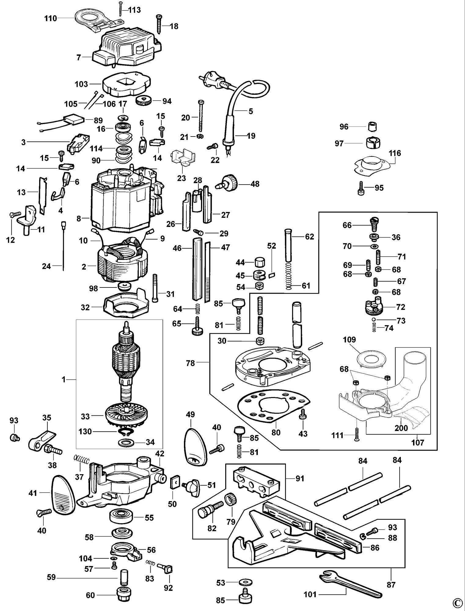 Spares For Dewalt Dw625e Router Type 5 Spare Dw625e Type