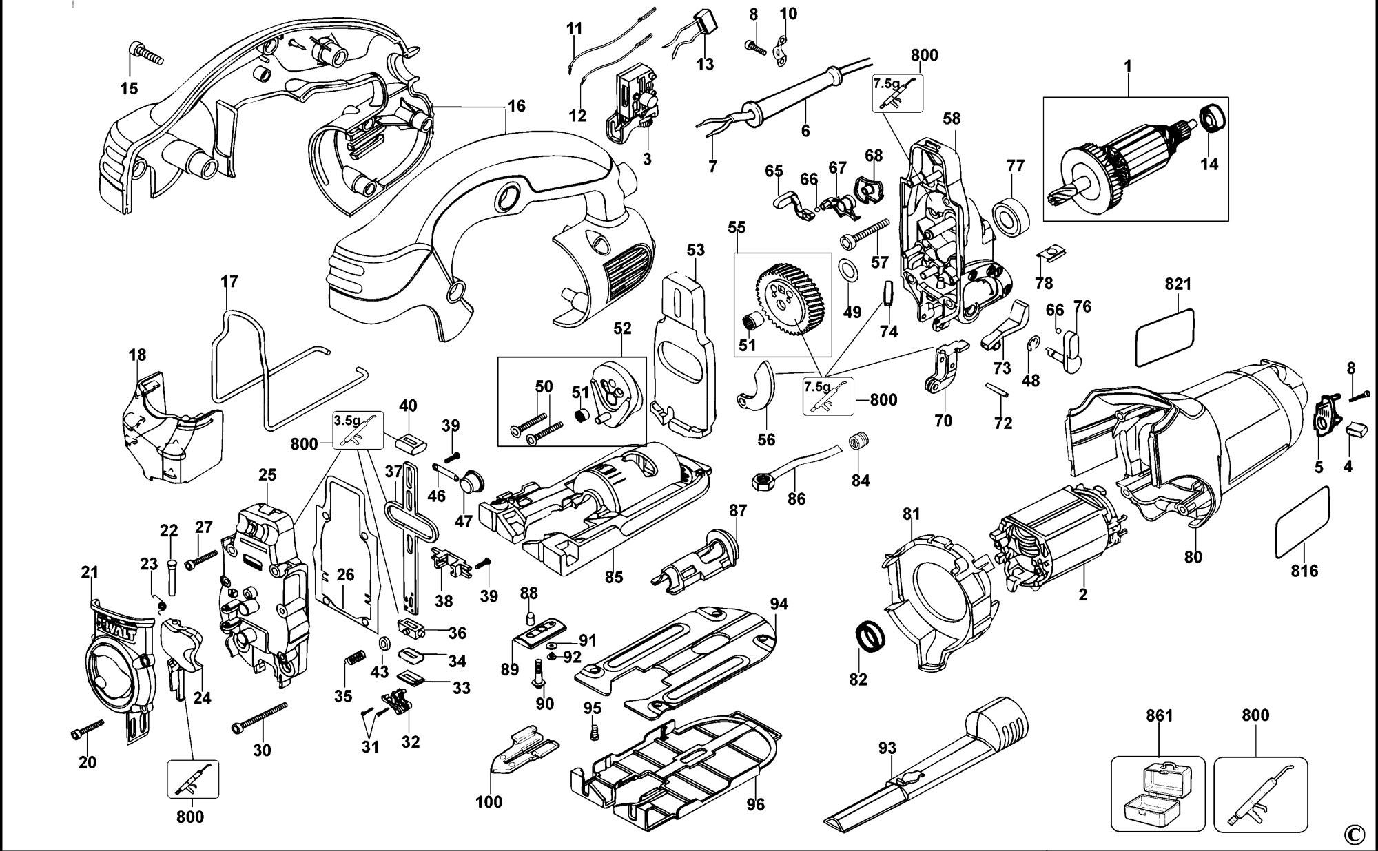 Spares For Dewalt Dw331 Jigsaw Type 1 Spare Dw331 Type 1
