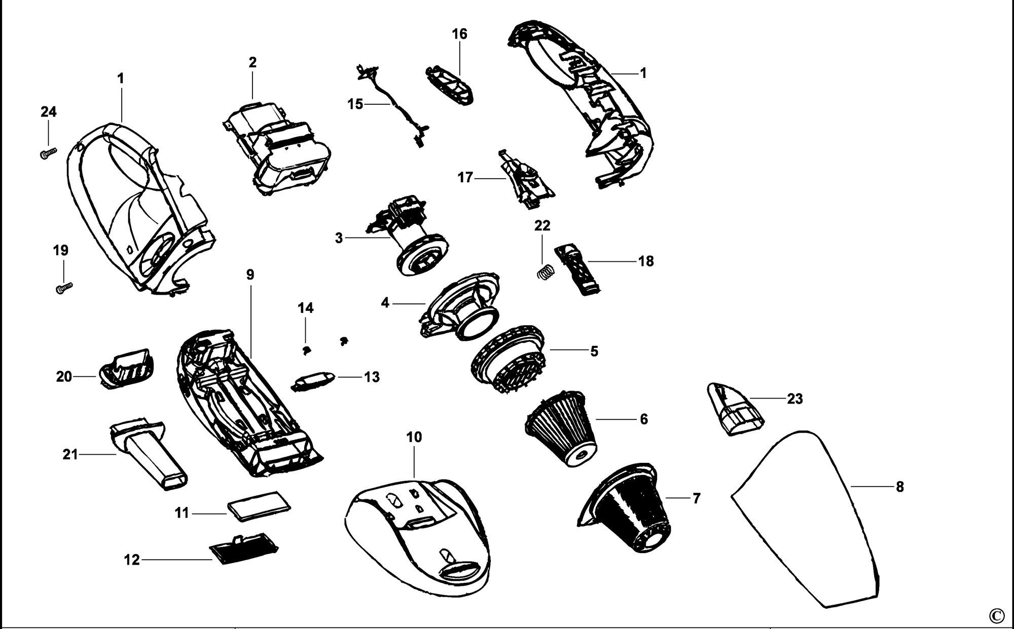 Spares for Black & Decker Cv1205 Dustbuster (type H1
