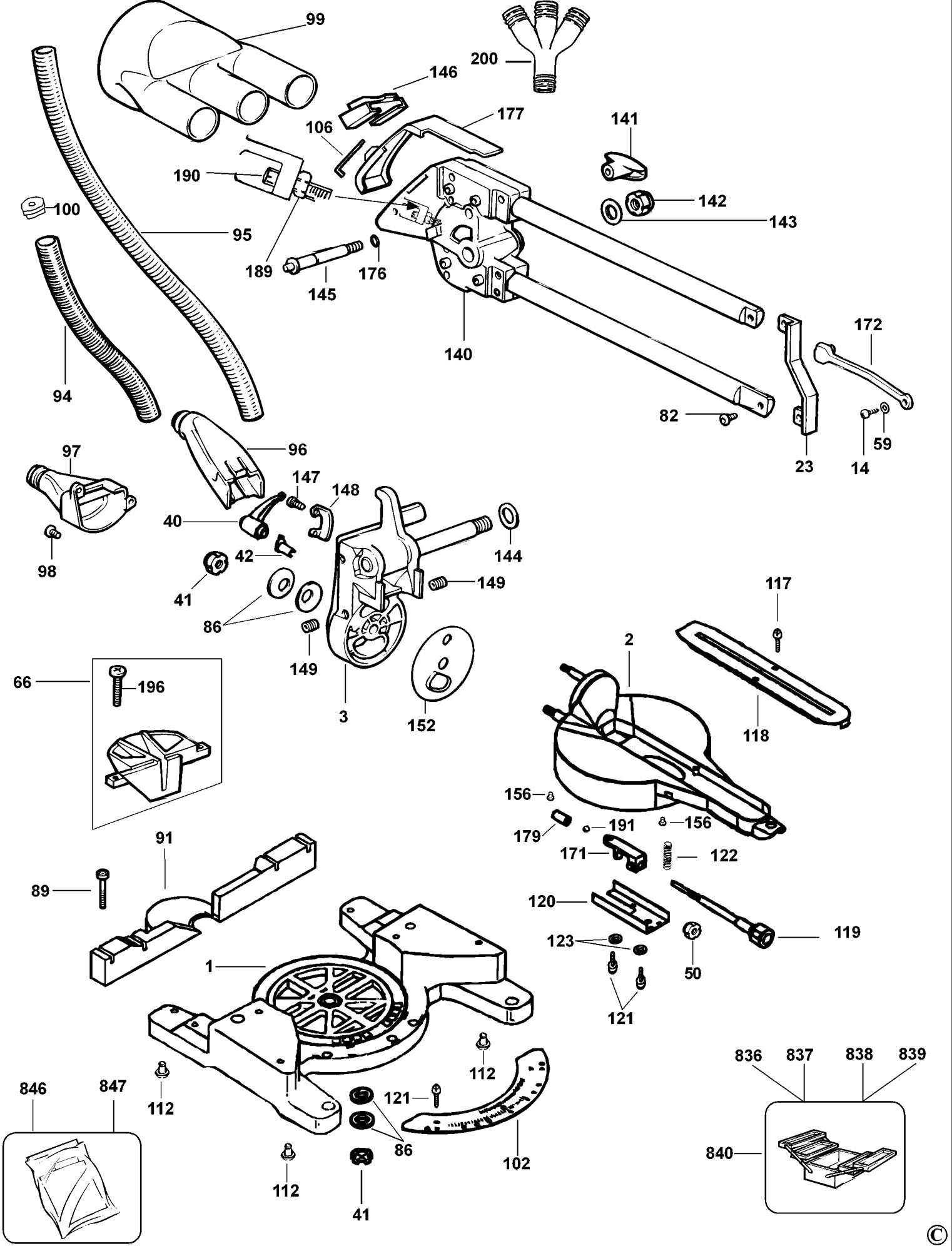 Spares For Dewalt Dw701 Mitre Saw Type 2 Spare Dw701