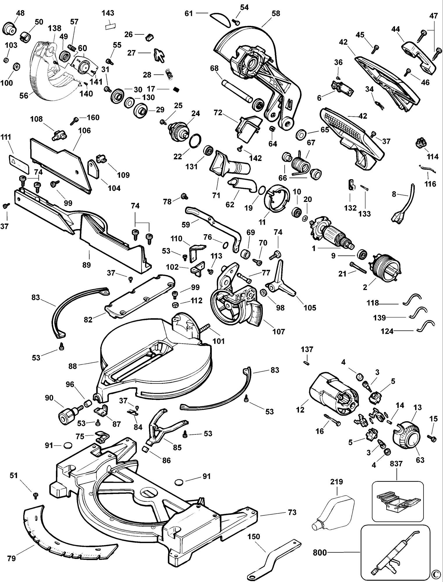 Spares For Dewalt Dw705 Mitre Saw Type 6 Spare Dw705