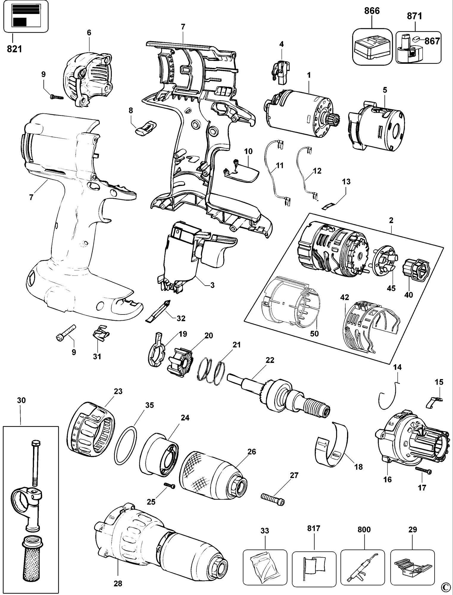 Spares for Dewalt Dc988k Combination Unit (type 11) SPARE