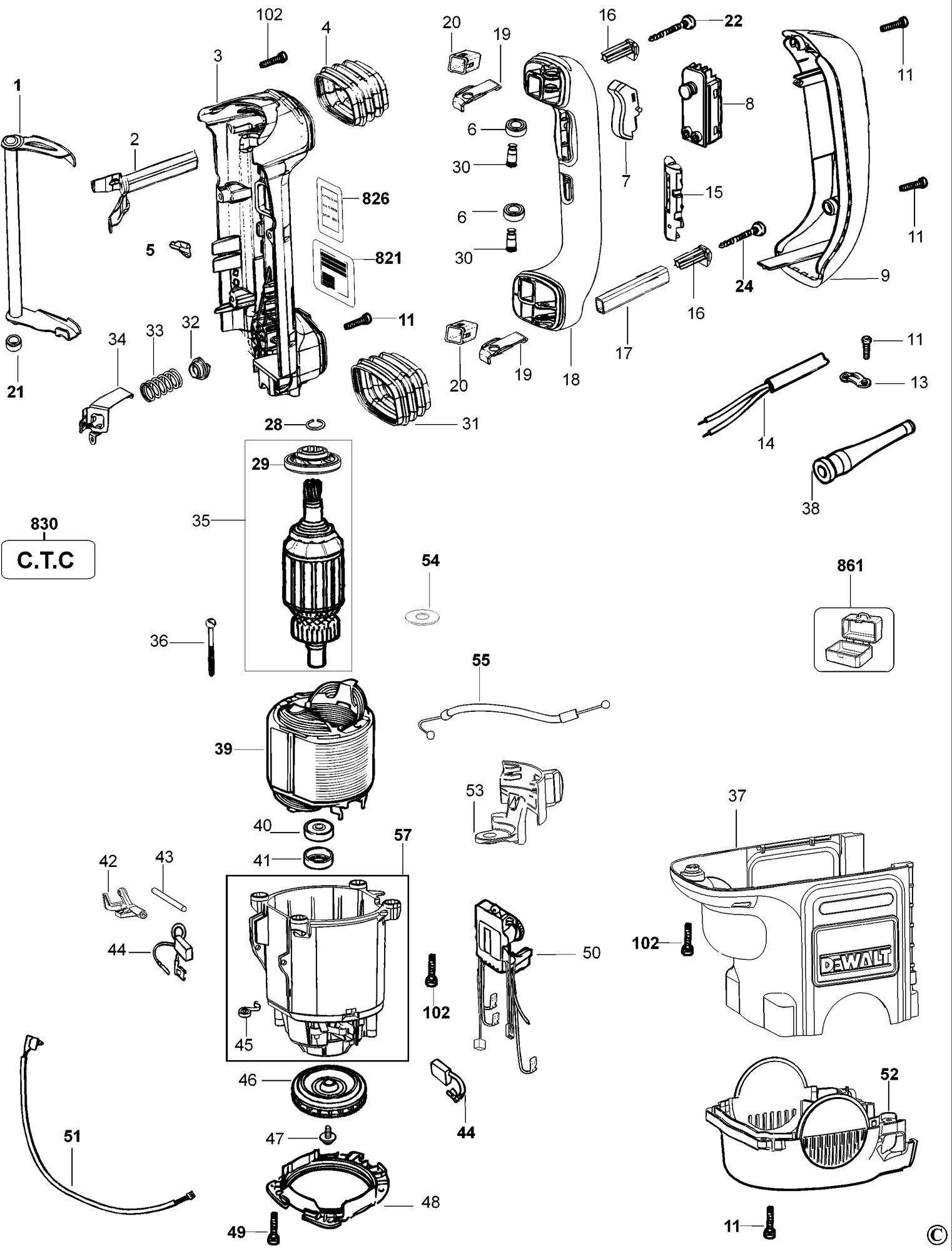 Spares for Dewalt D25730k Rotary Hammer (type 1) SPARE