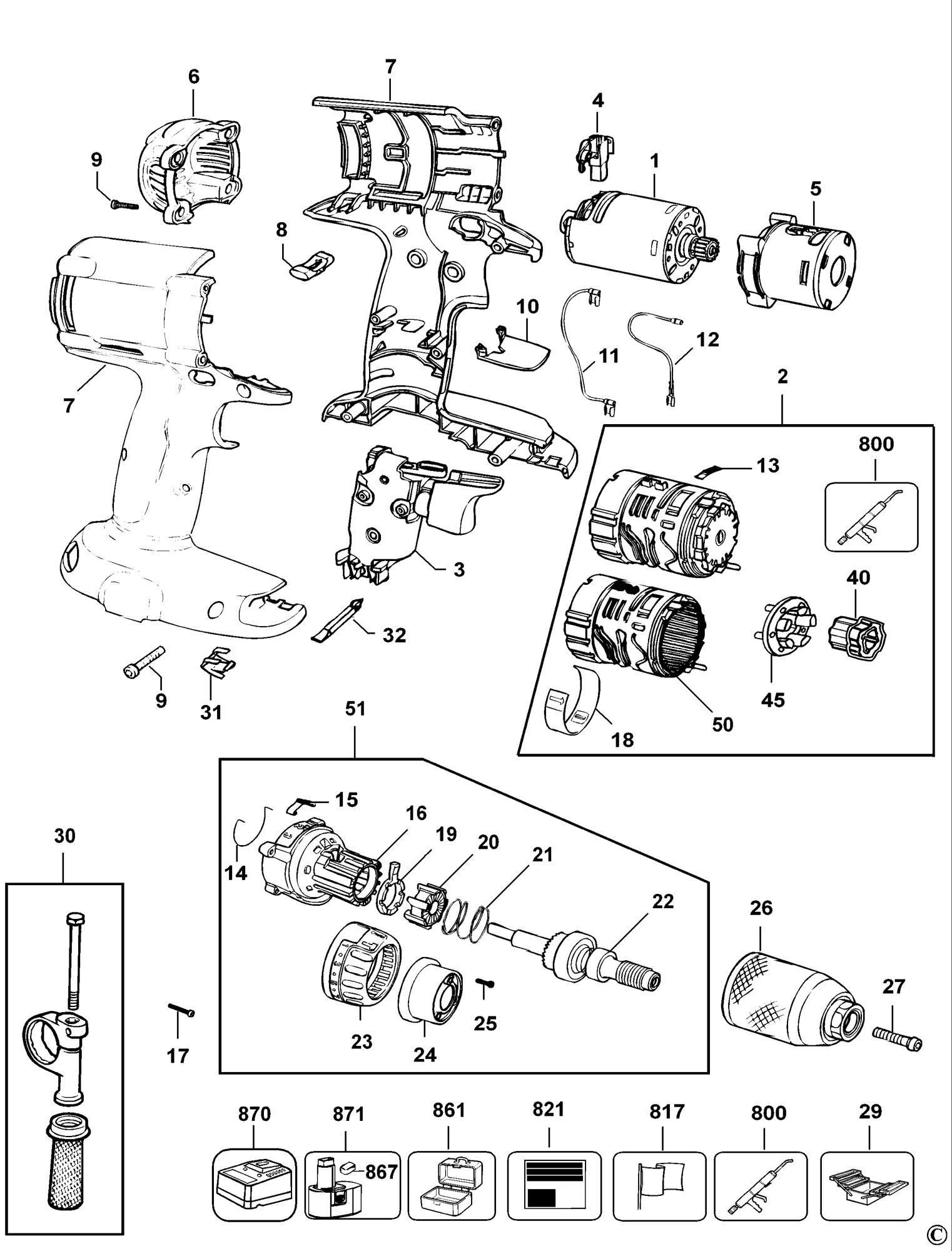 Spares For Dewalt Dc988k Combination Unit Type 1 Spare