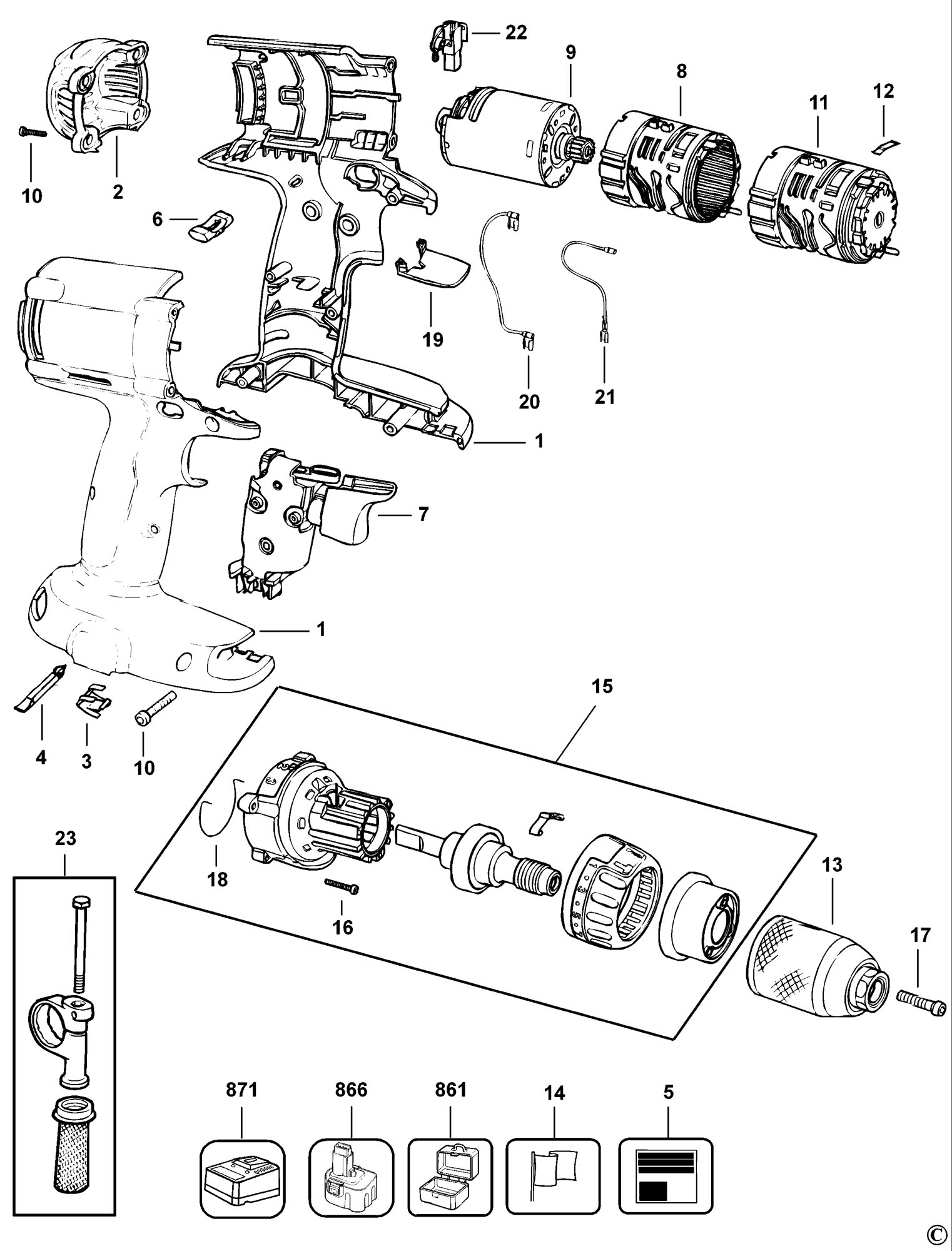 parts of a drill bit diagram 7 3 powerstroke engine wiring spares for dewalt dw987kq cordless type 1 spare