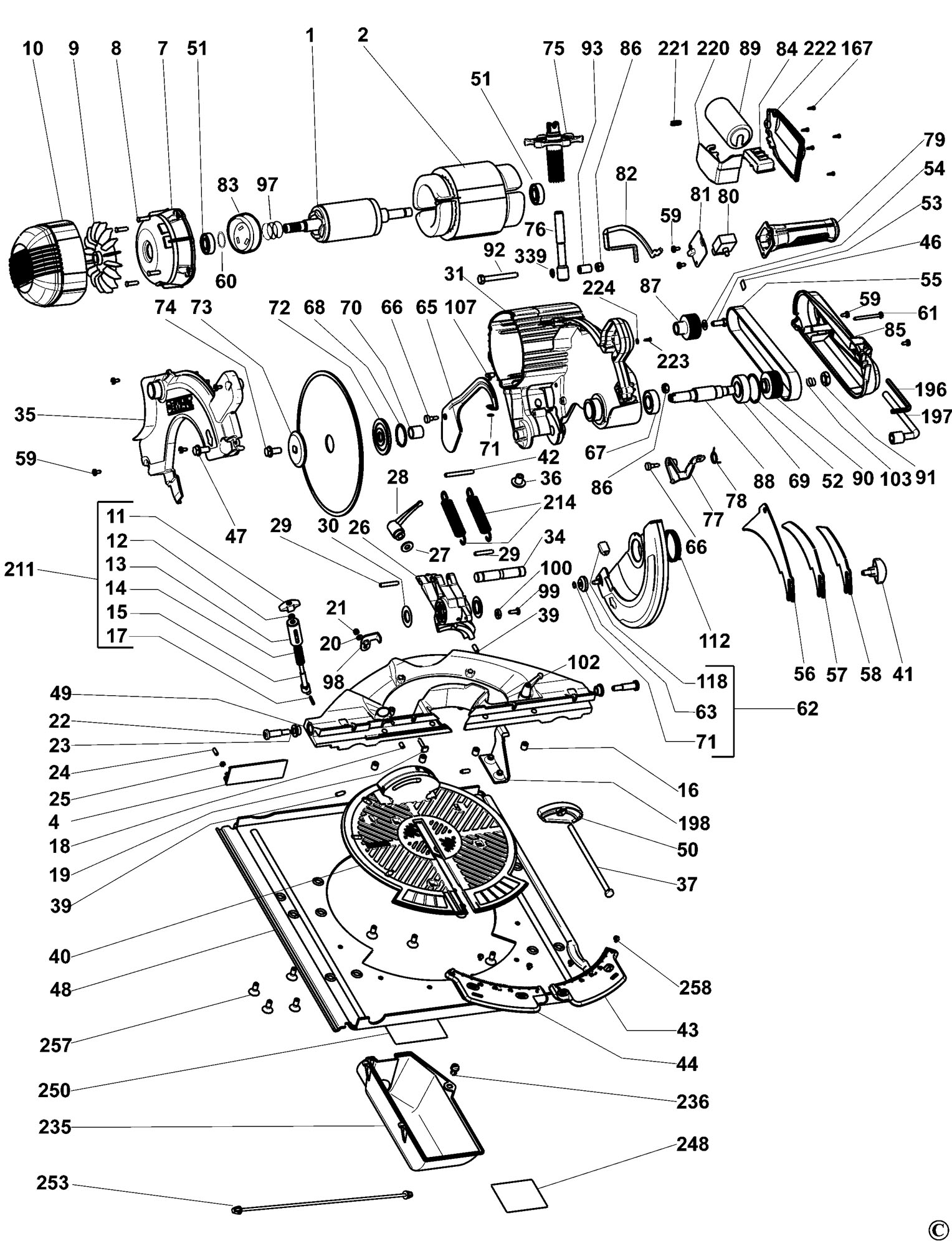 Spares for Dewalt Dw743 Combination Saw (type 5) SPARE