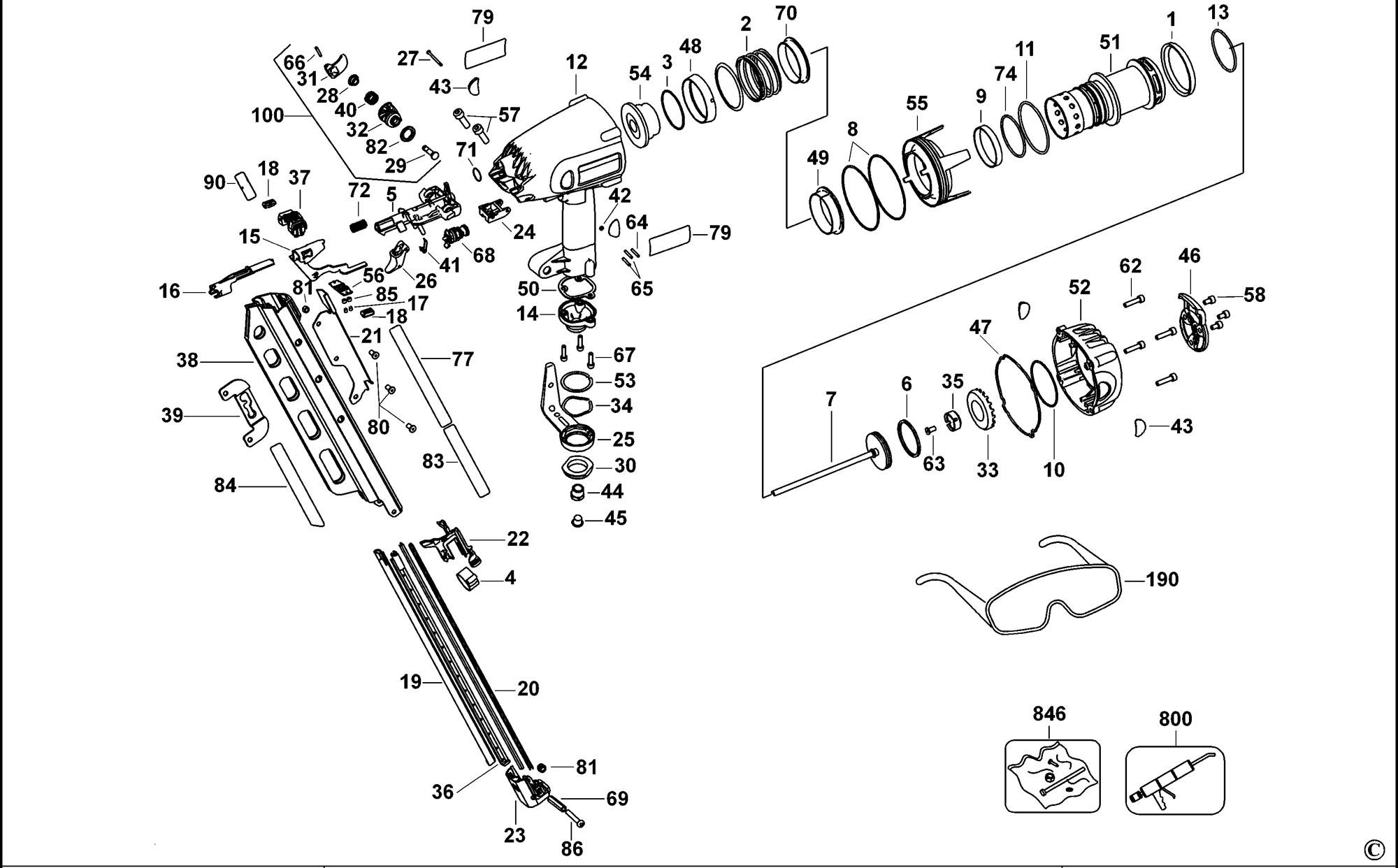 Spares for Dewalt D51845 Full Round Head Framing Nailer