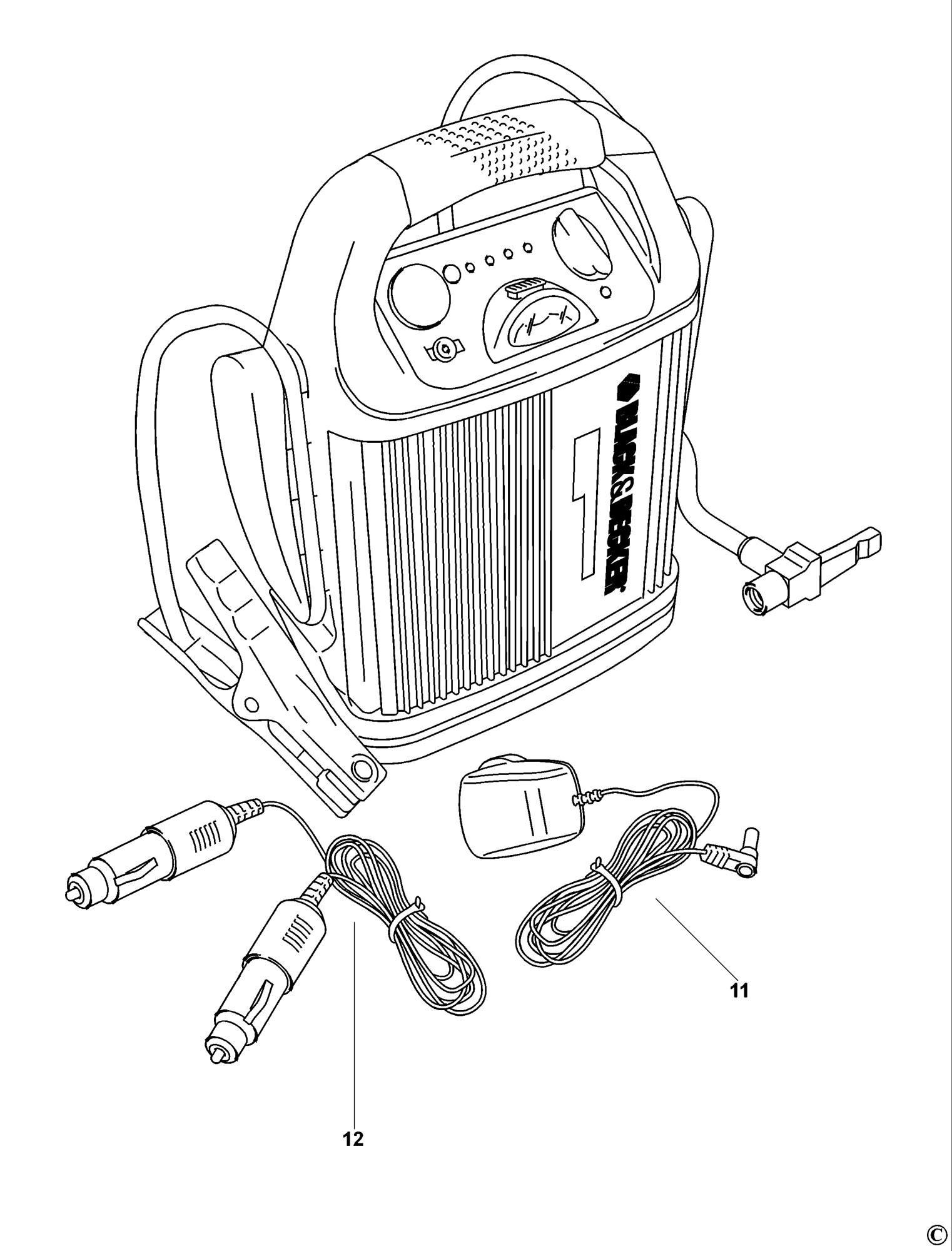 Spares for Black & Decker Bdv012i Jump Starter (type 1