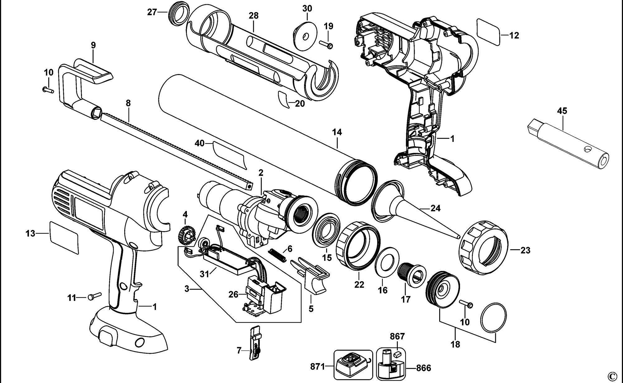 Spares For Dewalt Dc547 Caulk Gun Type 11 Spare Dc547