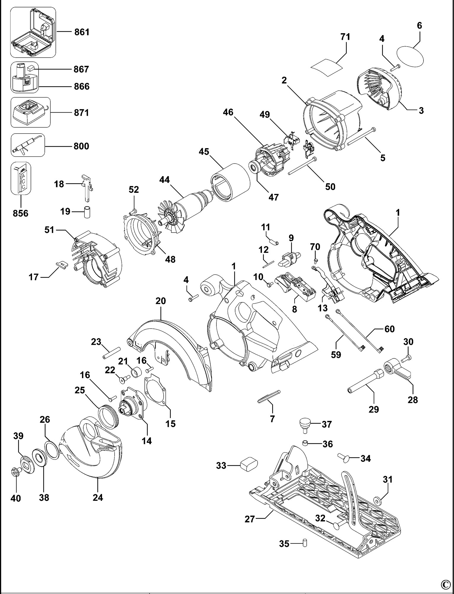 Spares For Dewalt Dc390k Cordless Circular Saw Type 1 Xe