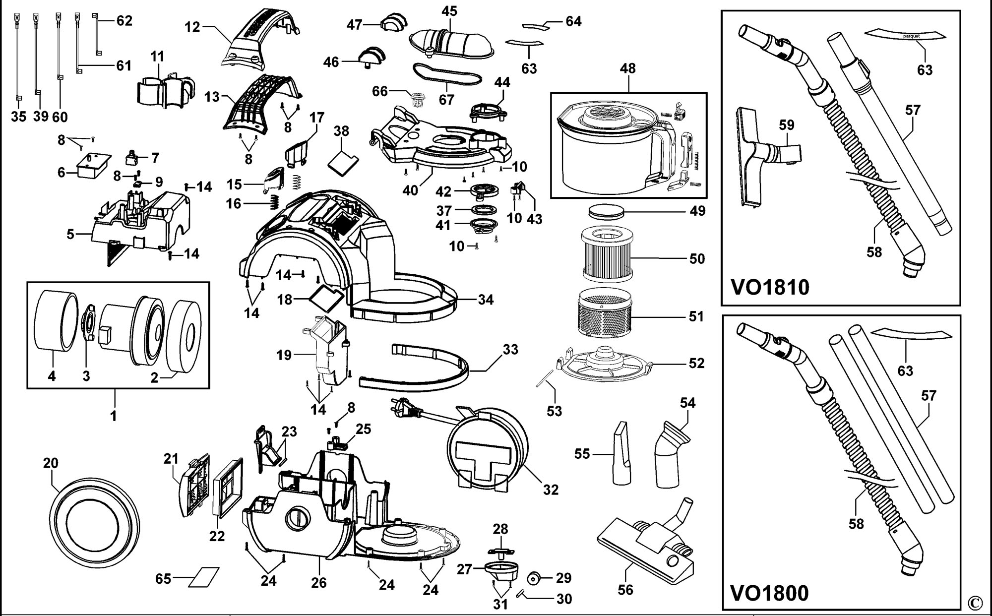Spares For Black Amp Decker Vo Vacuum Cleaner Type 2 Spare Vo Type 2 From Power Tool Centre