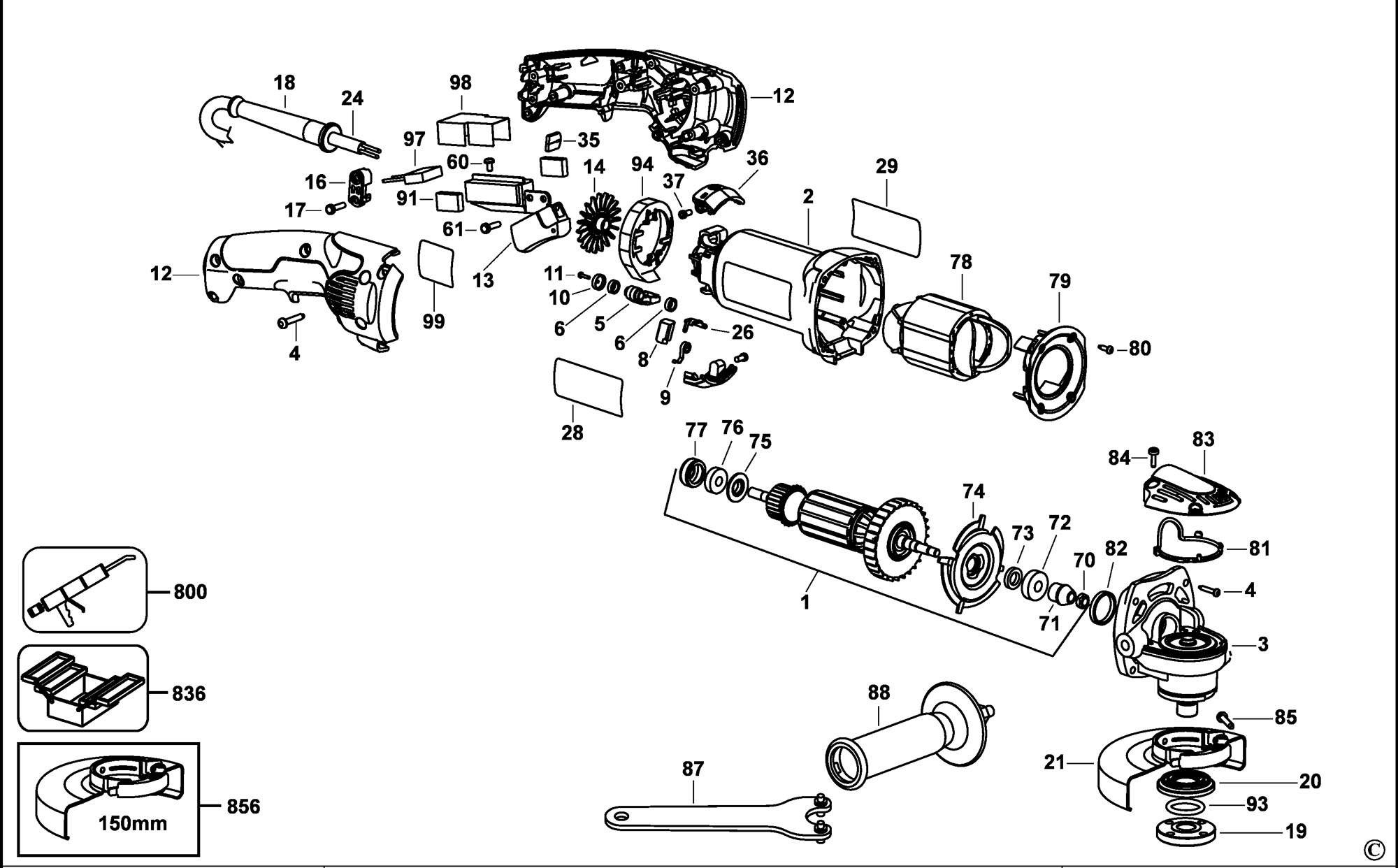 Spares for Dewalt D28065 Small Angle Grinder (type 2