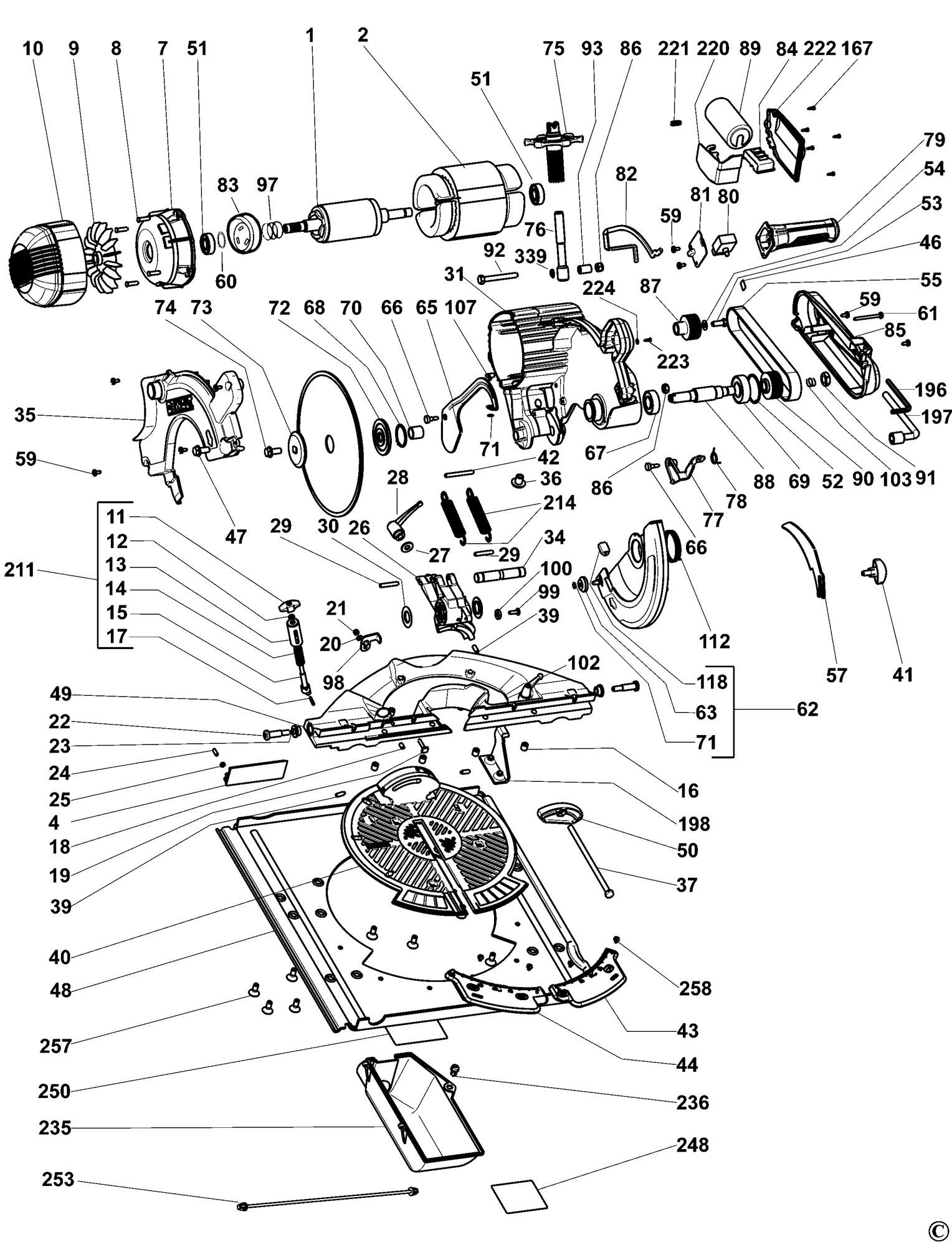 Spares For Dewalt Dw743 Combination Saw Type 6 Spare