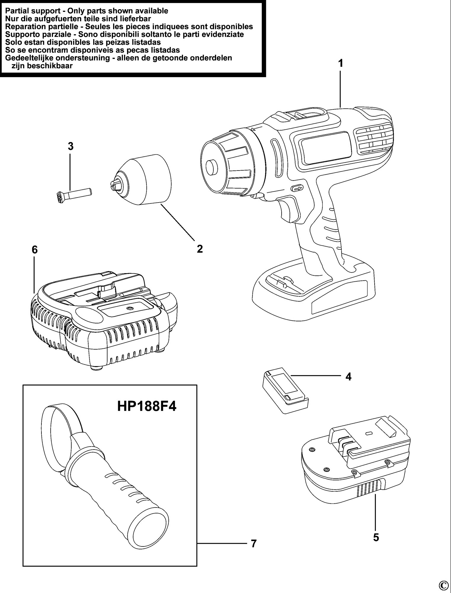 Spares for Black & Decker Hp186f4bk Cordless Drill (type