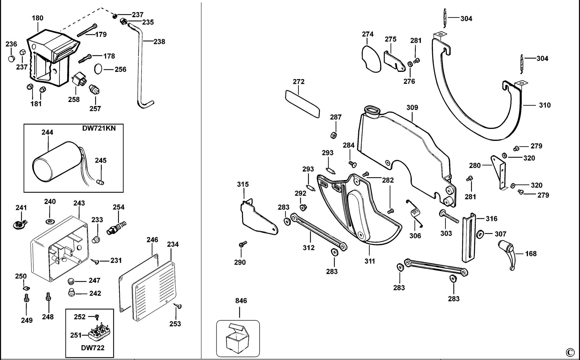 Spares for Dewalt Dw721kn Radial Arm Saw (type 1) SPARE