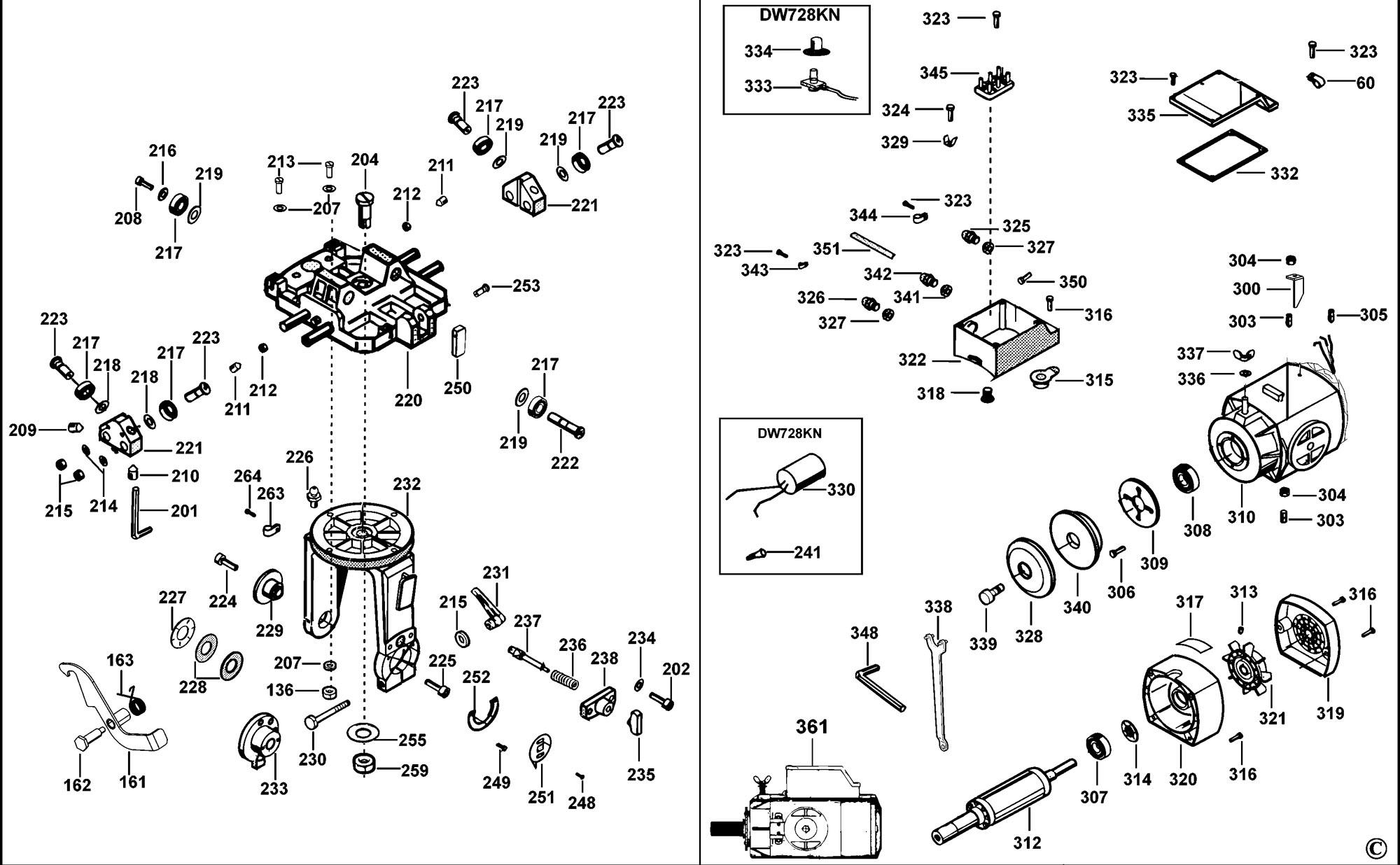 Spares for Dewalt Dw728kn Radial Arm Saw (type 1) SPARE