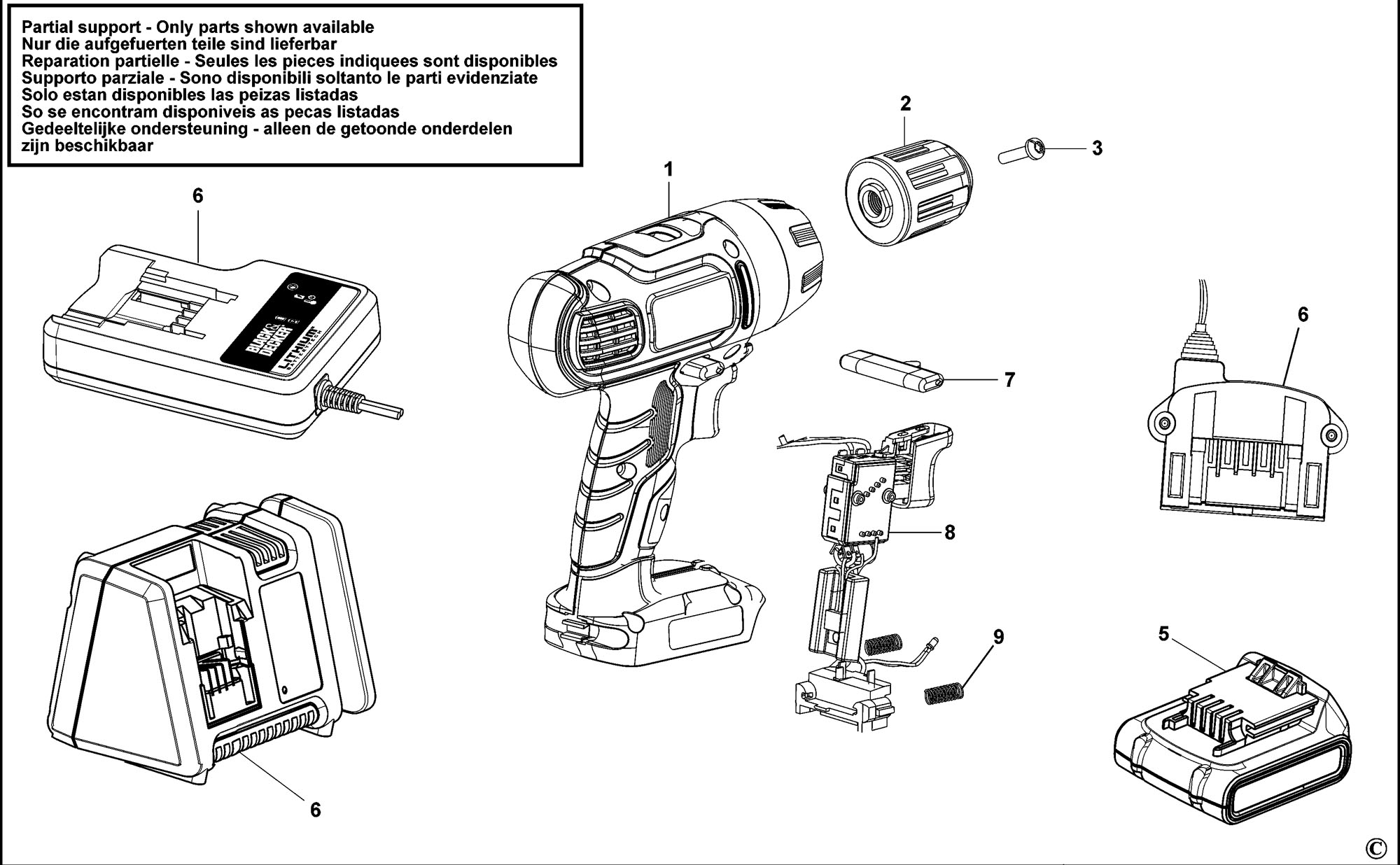 Spares For Black Amp Decker Asl188 Cordless Drill Type H1 Spare Asl188 Type H1 From Power Tool