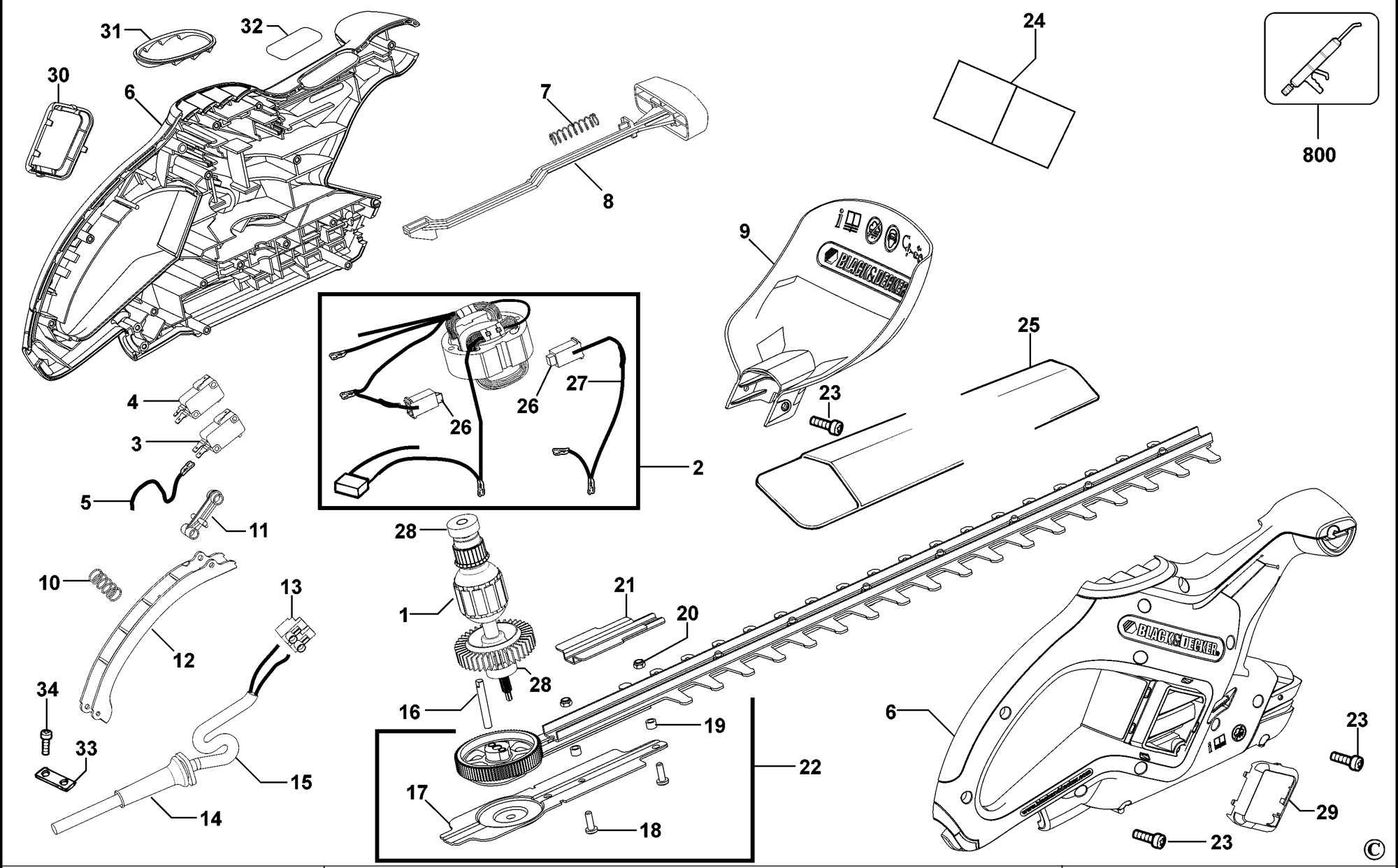 Spares For Black Amp Decker Gt502 Hedgetrimmer Type 2