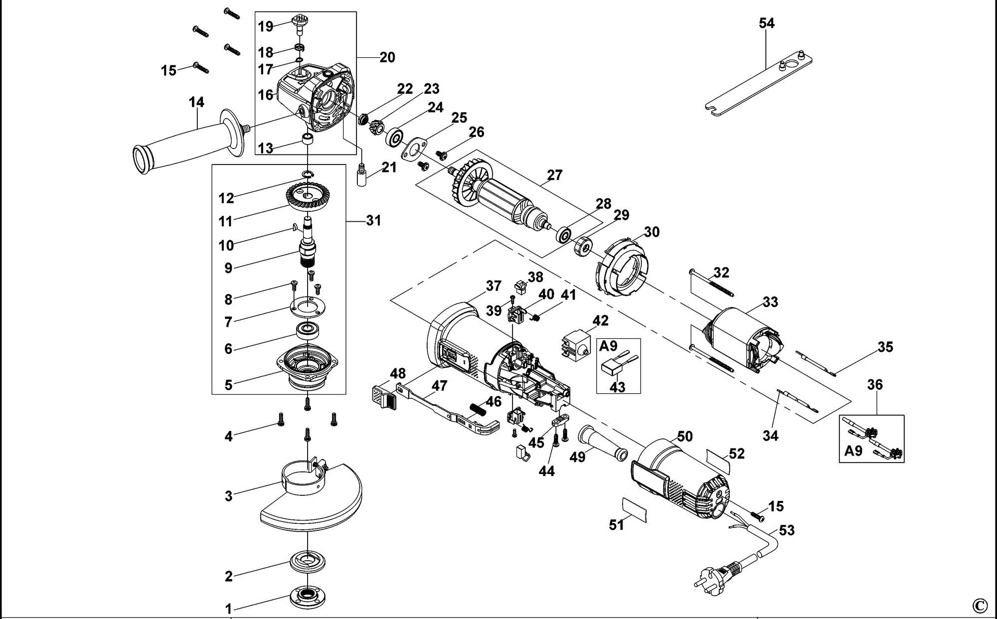 Spares for Black & Decker Ktg16 Angle Grinder (type 1