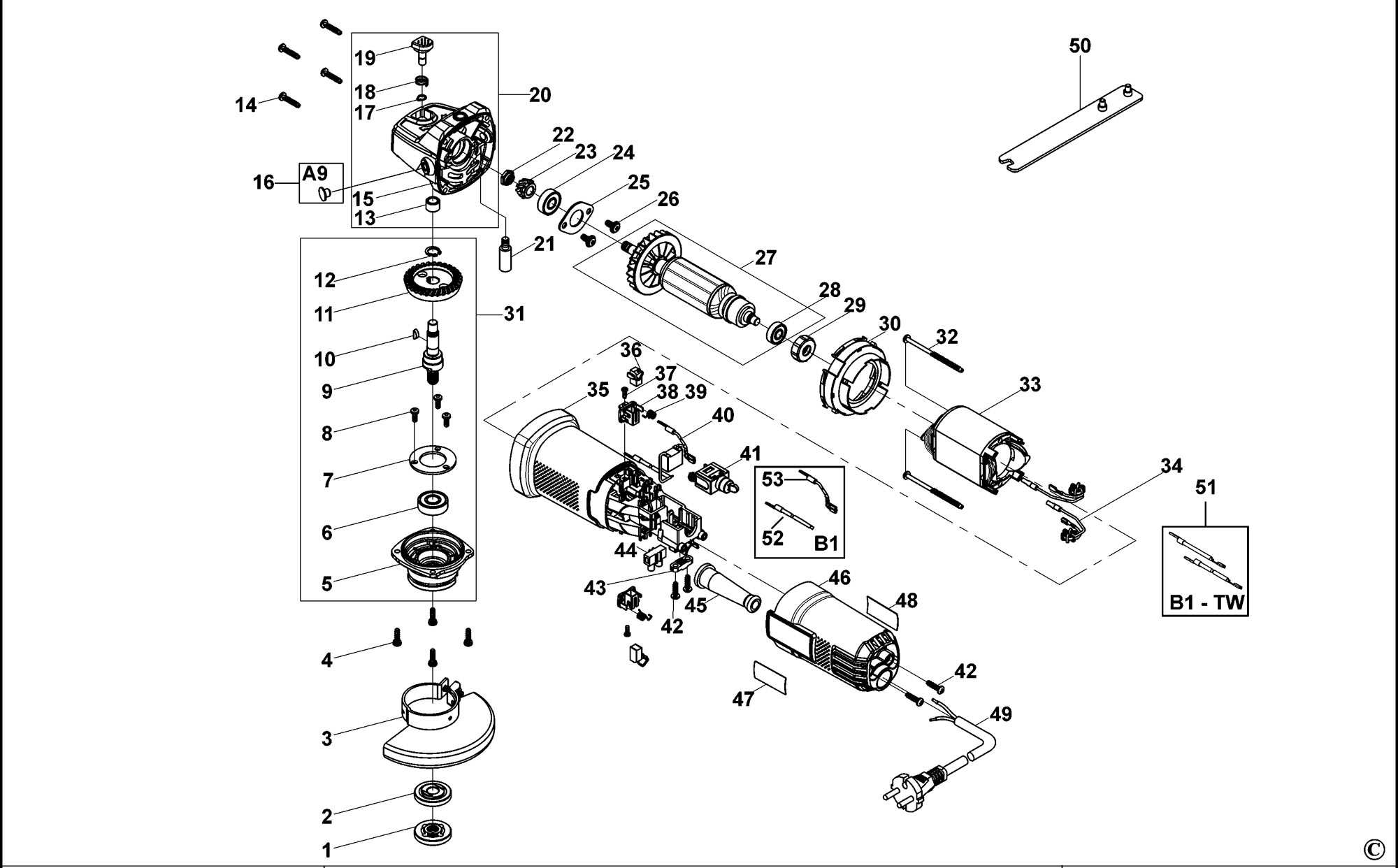 Spares for Black & Decker Ktg15t Angle Grinder (type 1