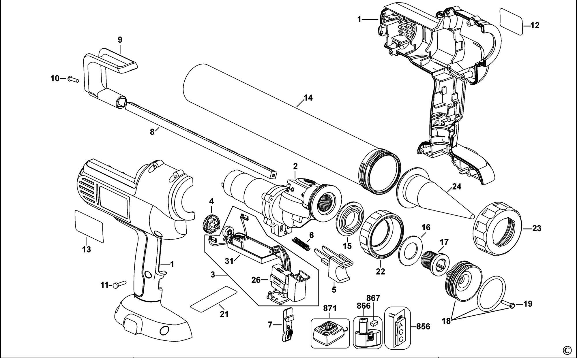 Spares For Dewalt Dc547 Caulk Gun Type 2 Spare Dc547
