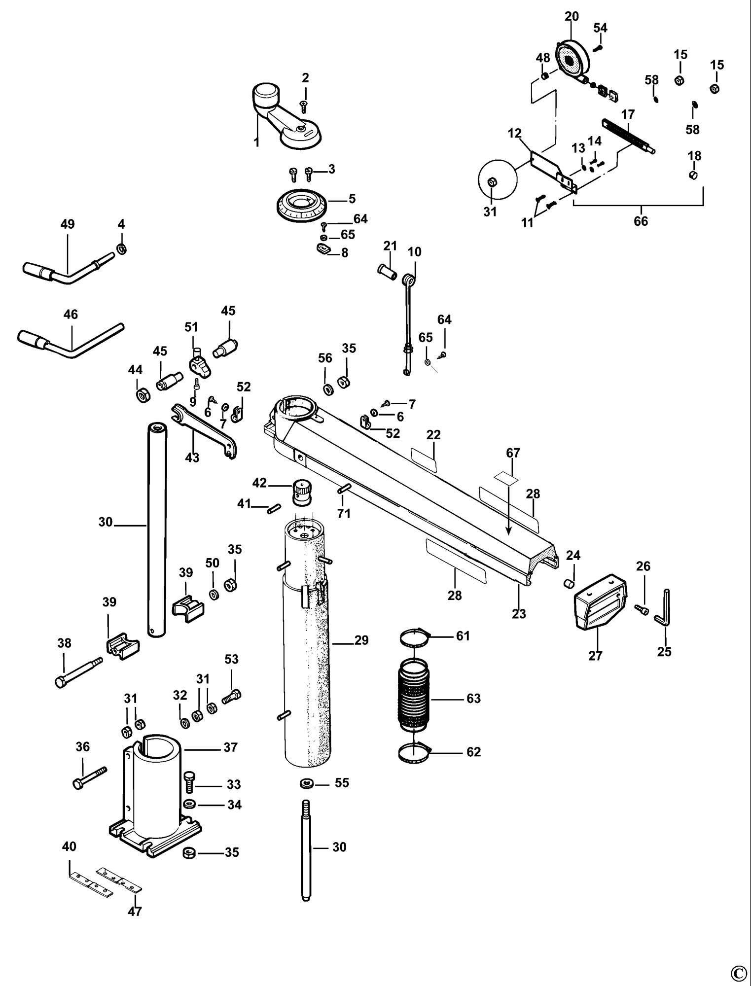 Spares For Dewalt Dw721kn Radial Arm Saw Type 2 Spare
