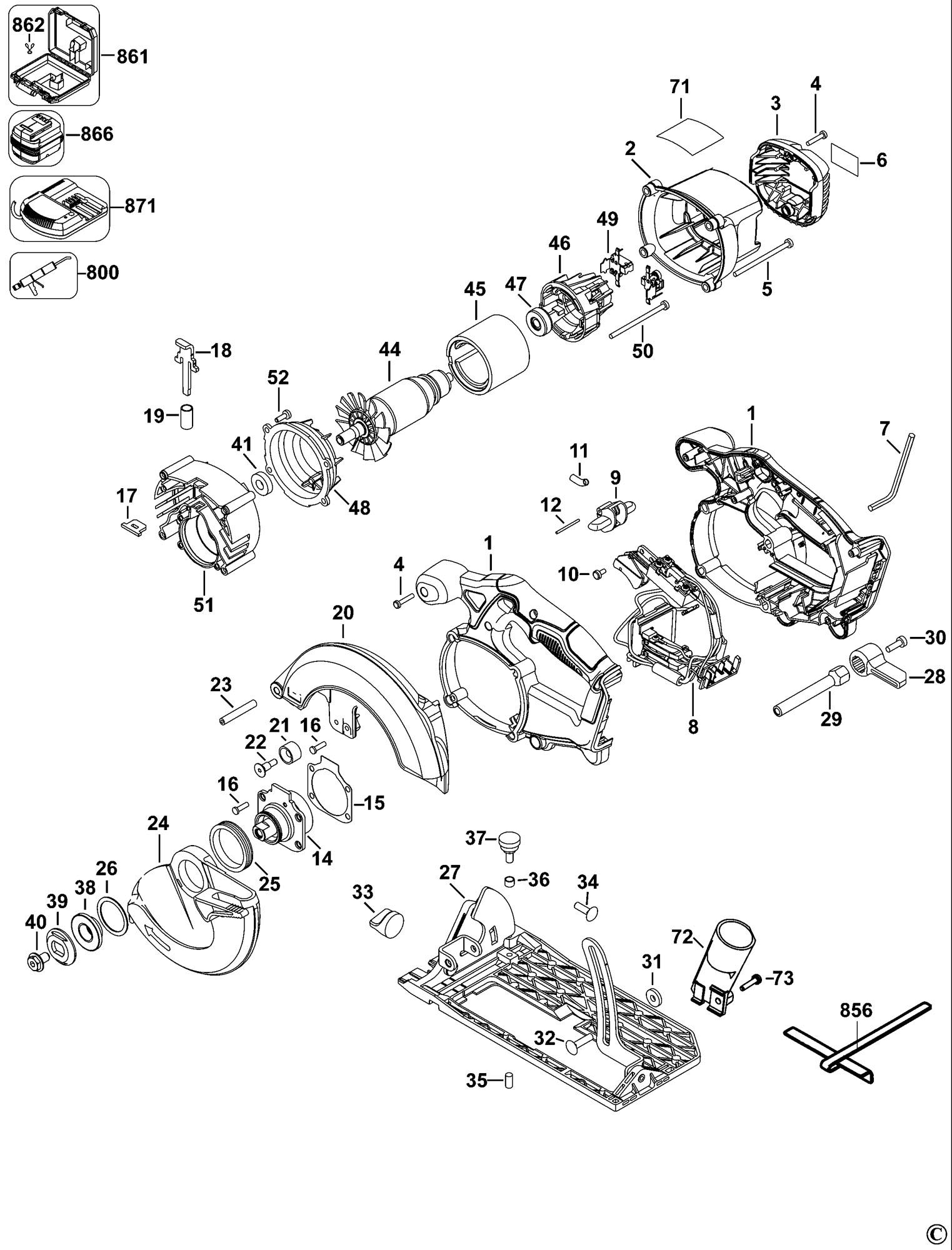 Spares For Dewalt Dcs391 Cordless Circular Saw Type 1
