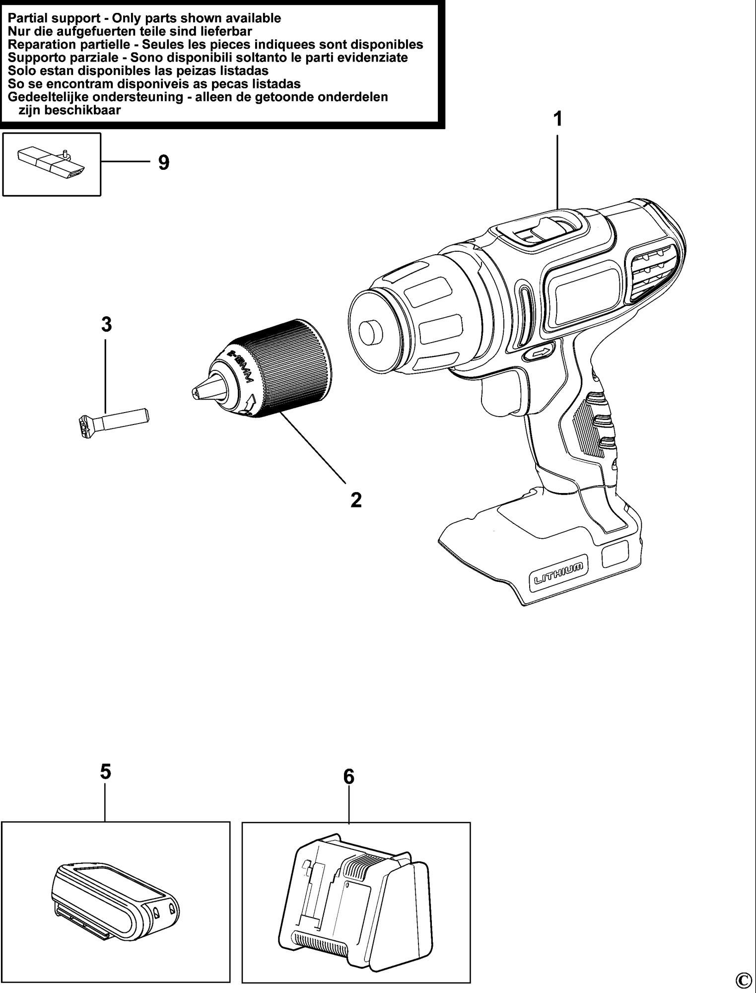 Spares for Black & Decker Hp188f4lbk Cordless Drill (type