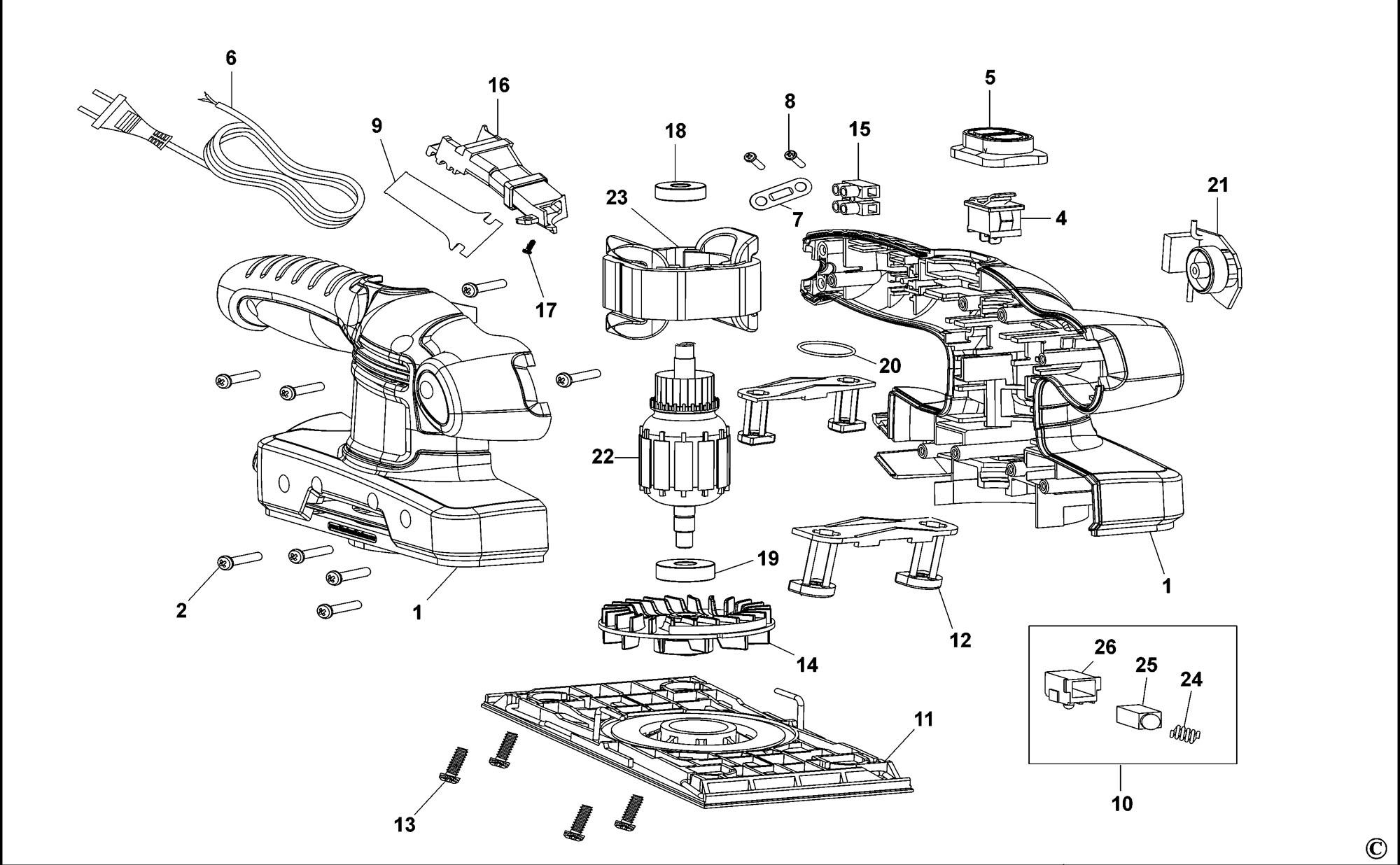 Spares For Black Amp Decker Ka320e Sander Type 1 As Spare
