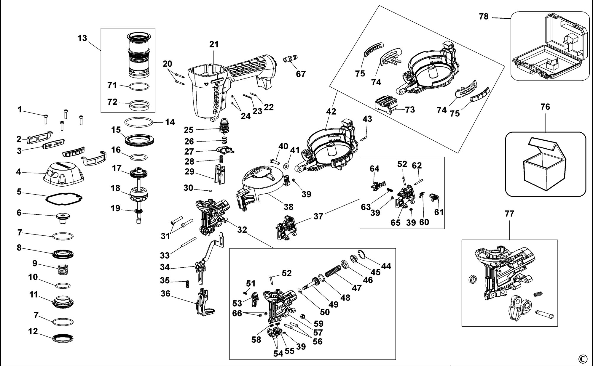Spares for Bostitch Rn46dw Nailer (type Reva) SPARE_RN46DW