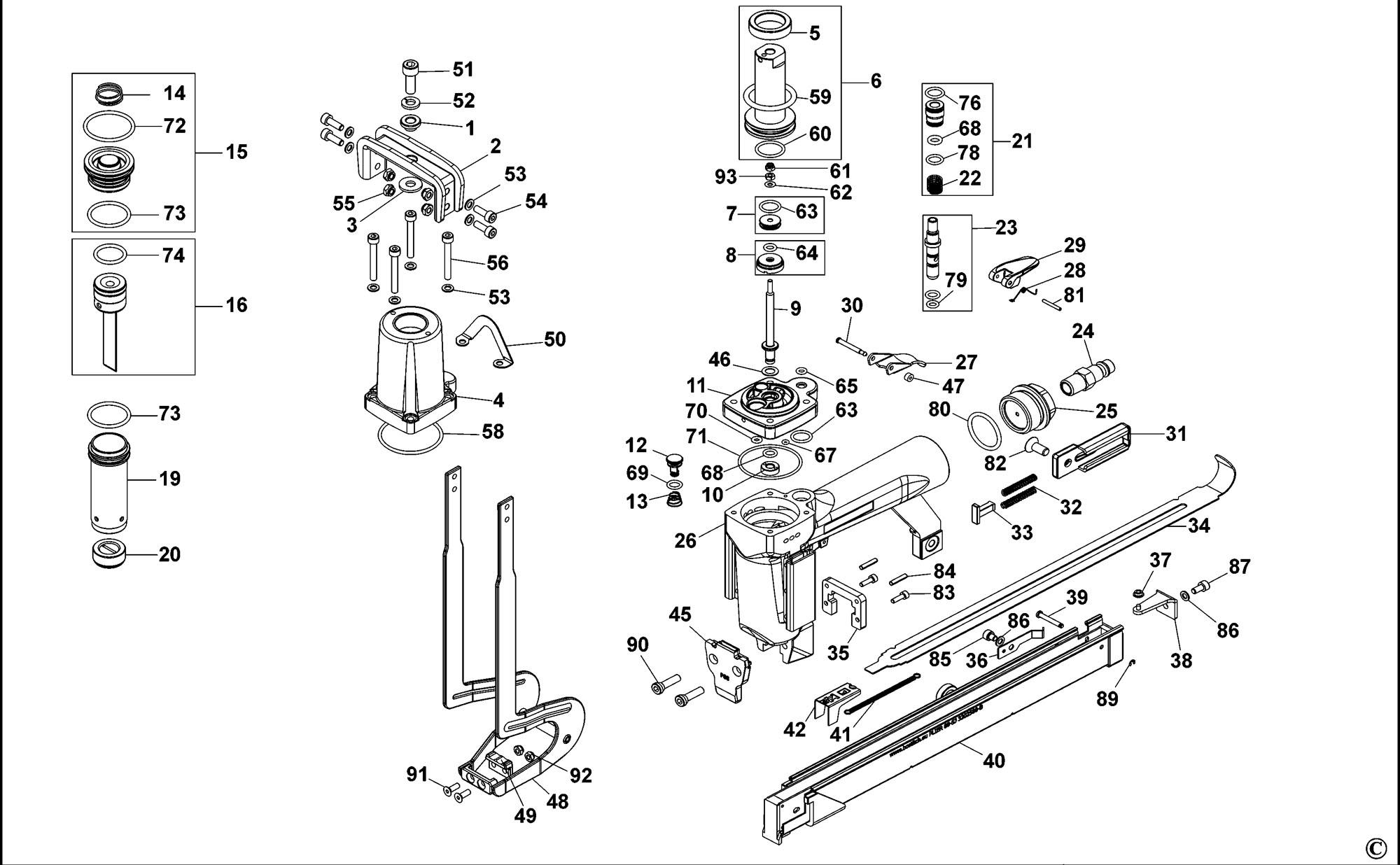 Spares For Bostitch P110sj Pneumatic Stapler Type Revc