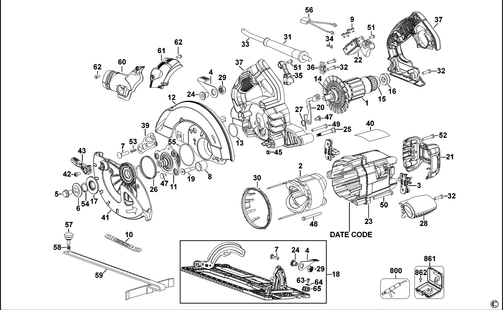 Spares For Dewalt Dwe576 Circular Saw Type 1 Spare Dwe576 Type 1 From Power Tool Centre