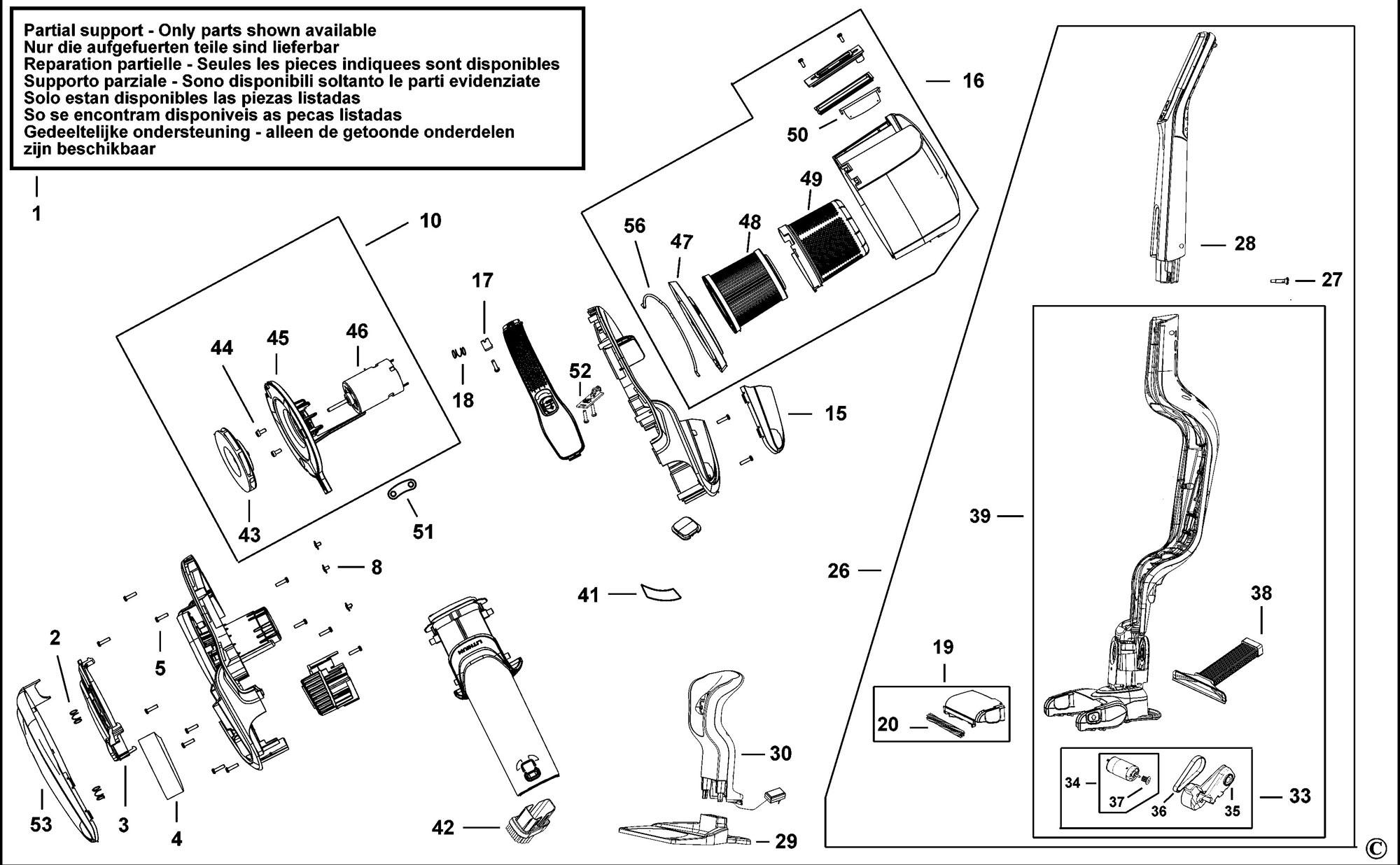 Spares for Black & Decker Svj520bfs Dustbuster (type 1