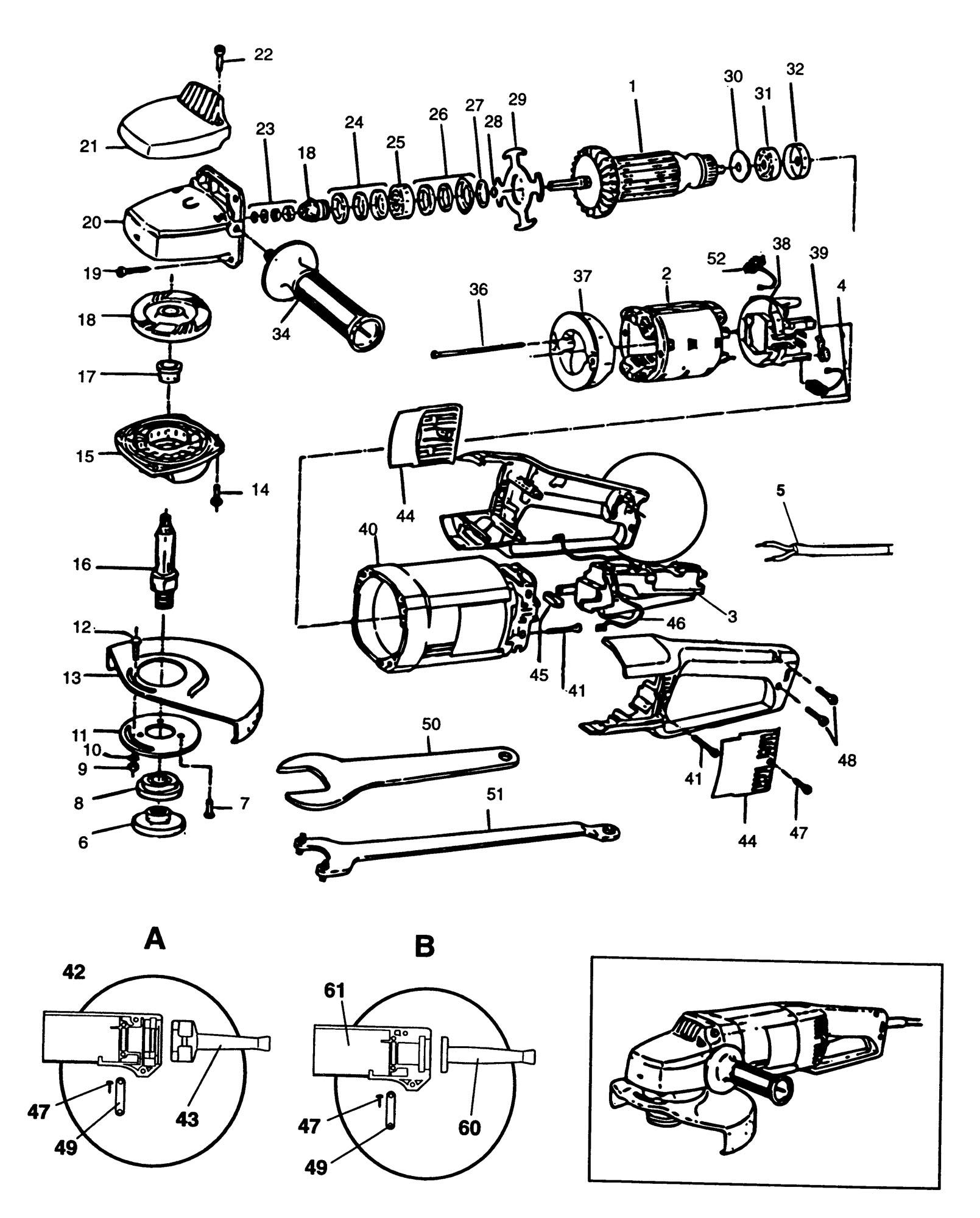 Spares for Black & Decker Bd1820 Angle Grinder (type 1