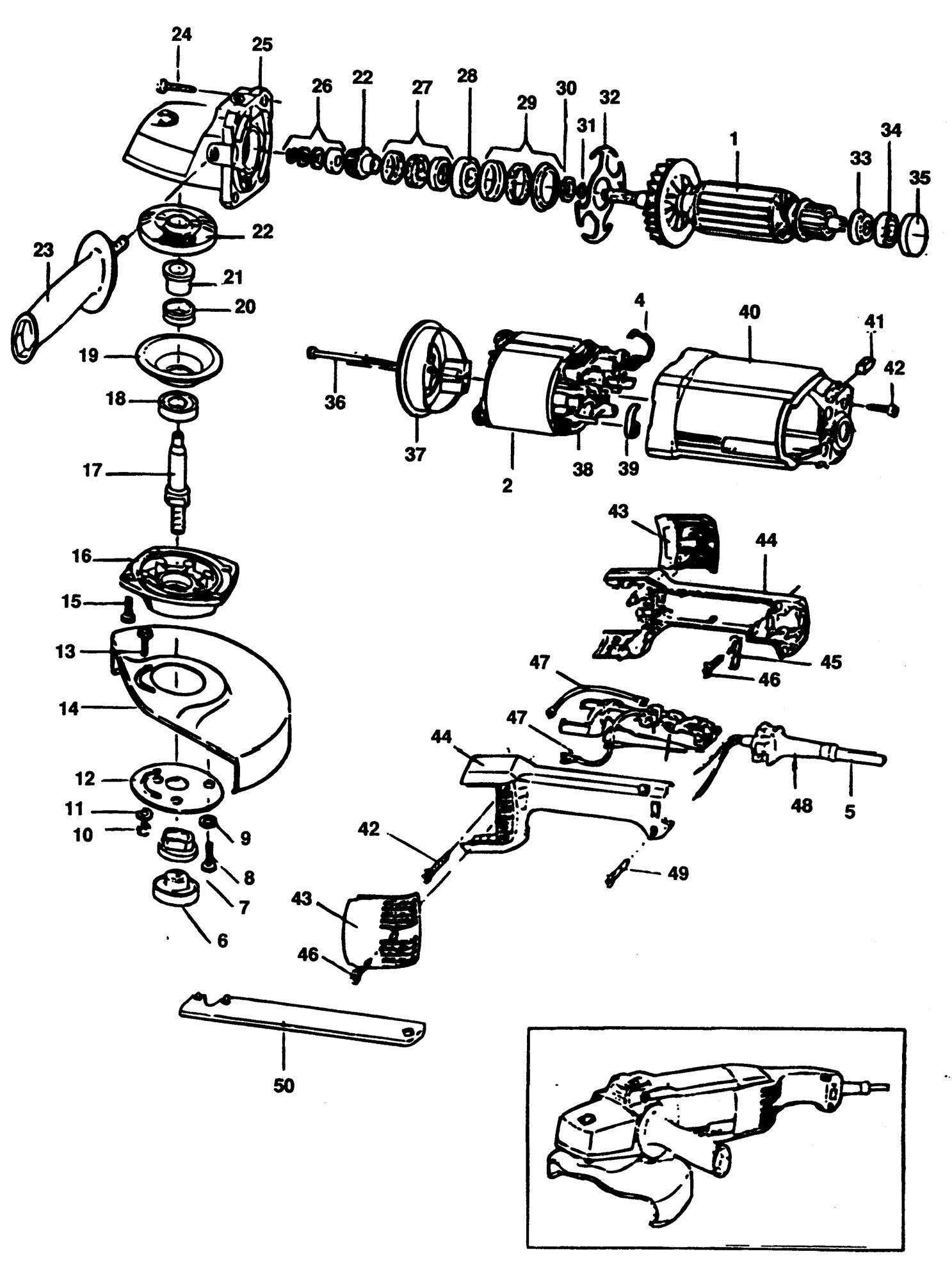 Spares for Black & Decker P5751 Angle Grinder (type 1