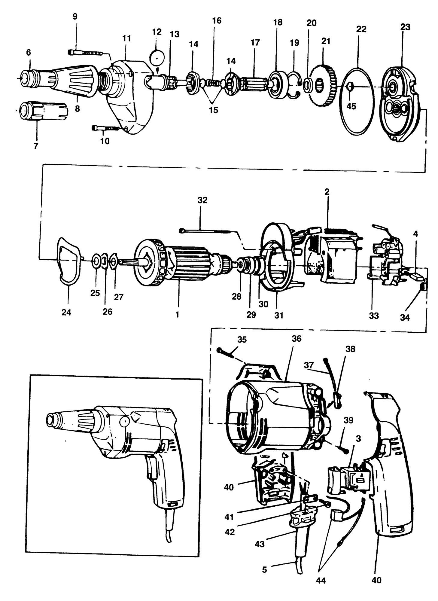 Spares For Elu Esd701 Screwdriver Type 1 Spare Esd701