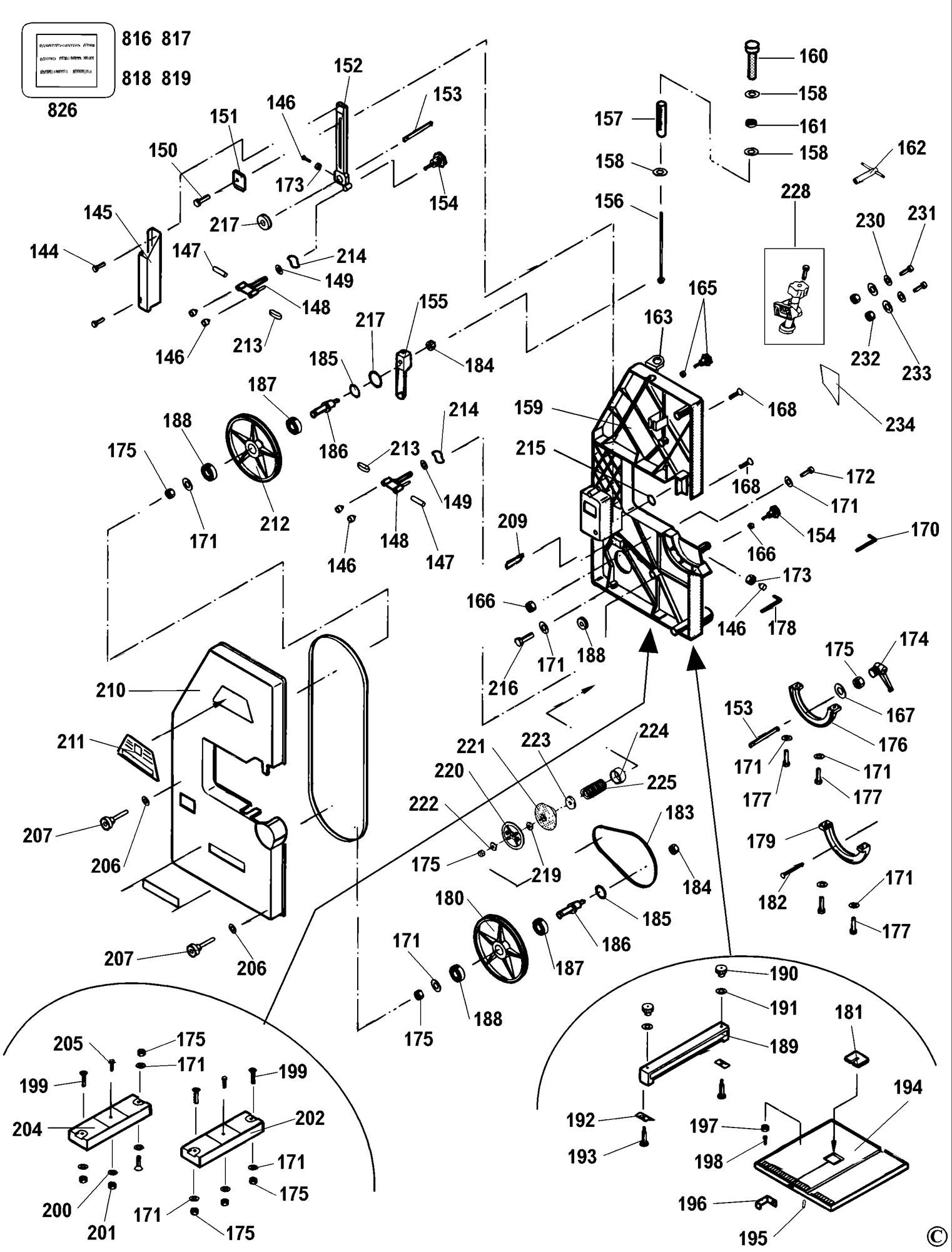 Spares for Dewalt Dw3501 Bandsaw (type 1) SPARE_DW3501