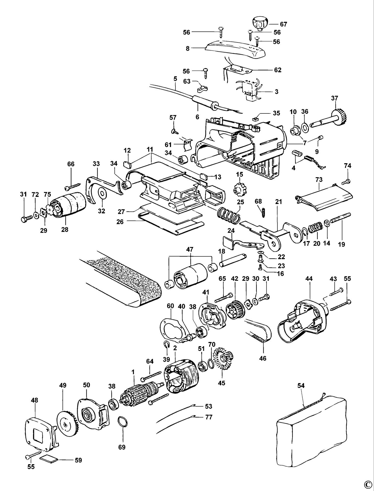 Spares for Elu Mhb157 Belt Sander (type 1) SPARE_MHB157
