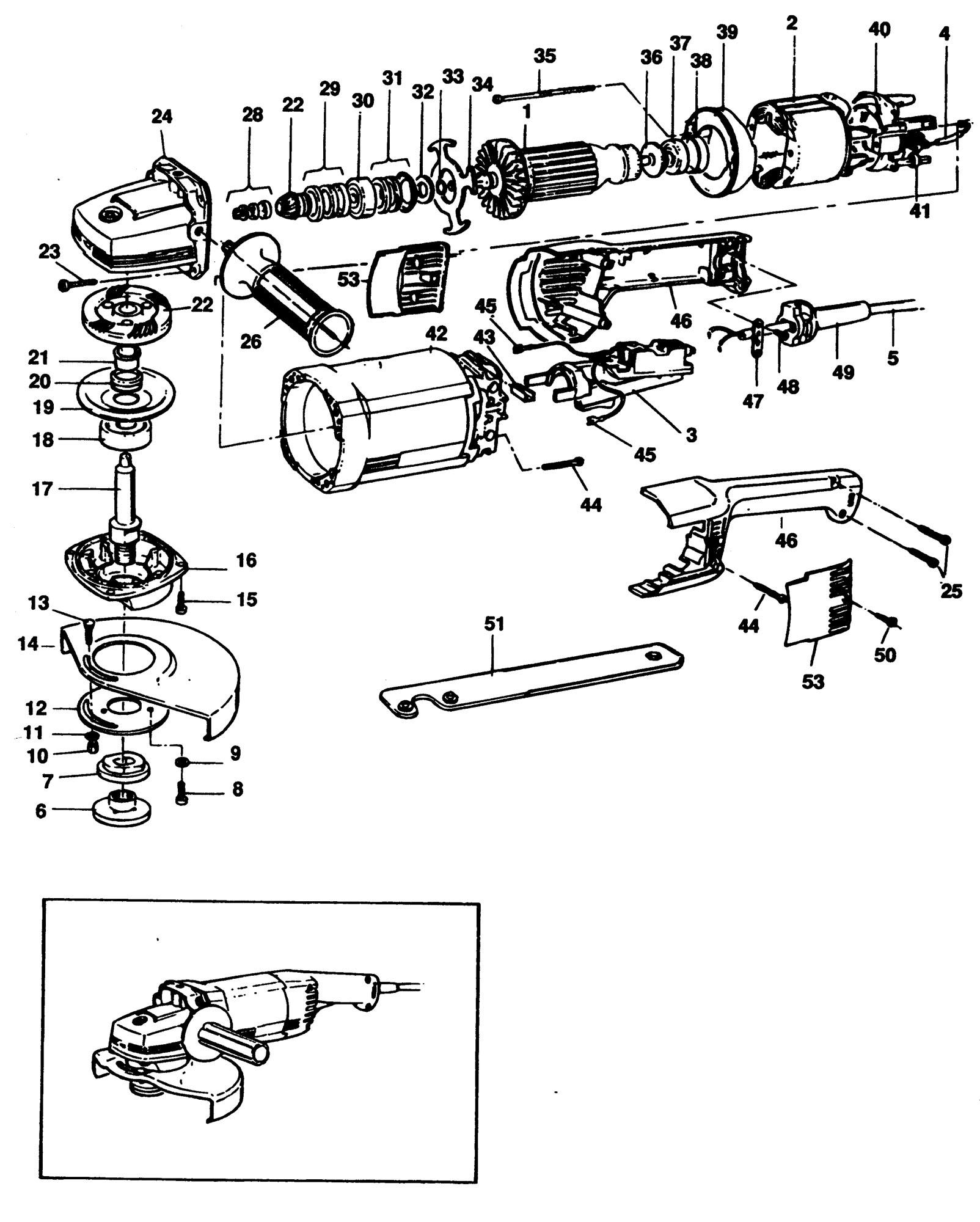 Spares for Black & Decker P5721 Angle Grinder (type 1