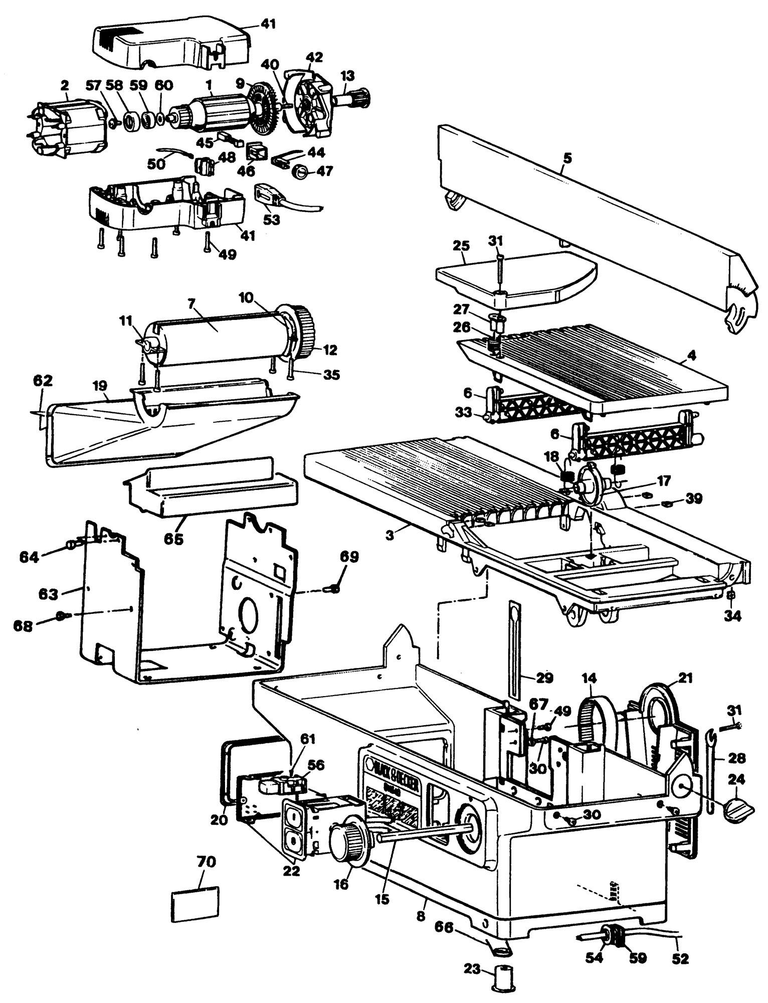 Spares For Black Amp Decker Dn840 Bench Planer Type 1