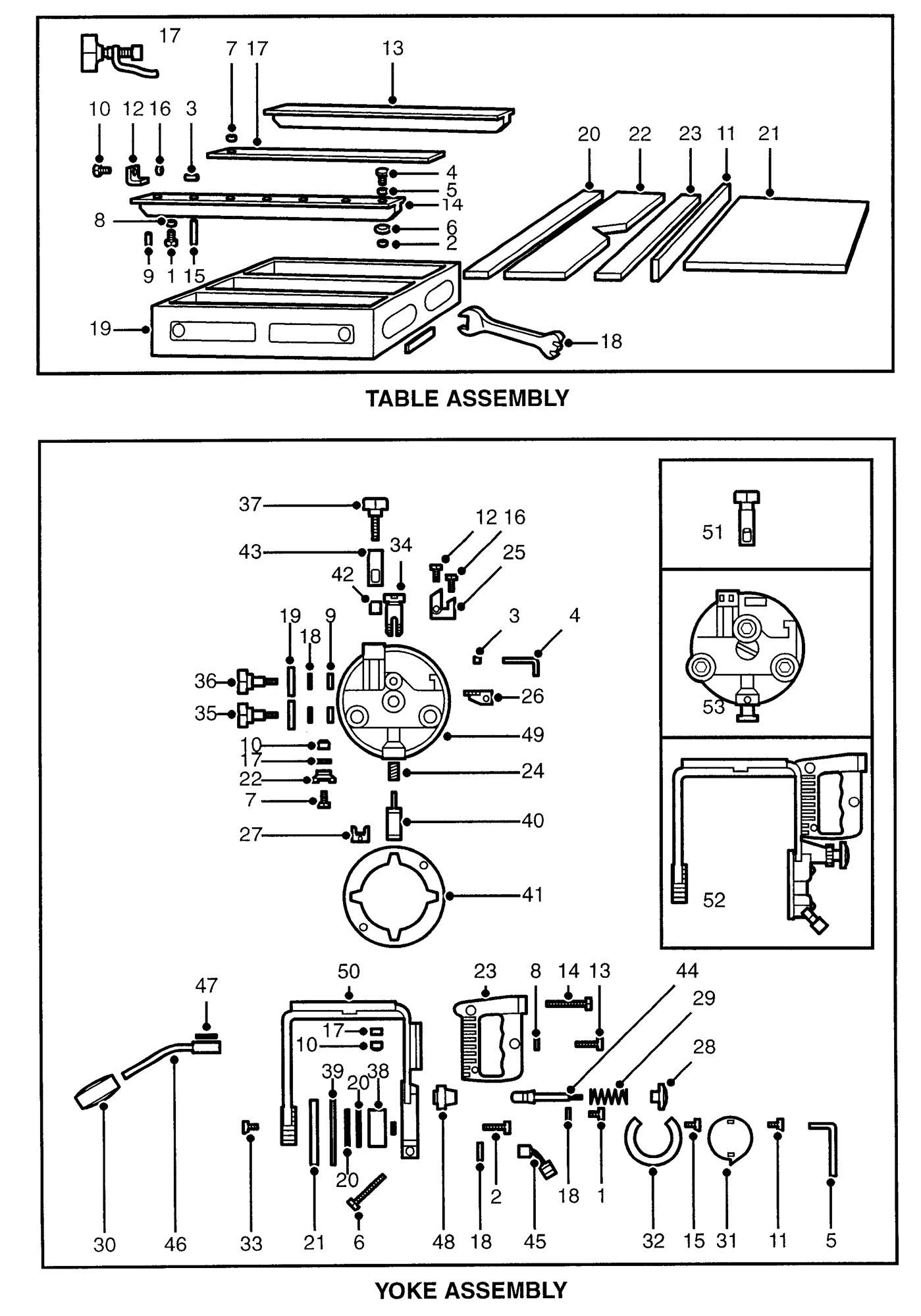 Spares for Dewalt Dw125-----b Radial Arm Saw (type 1