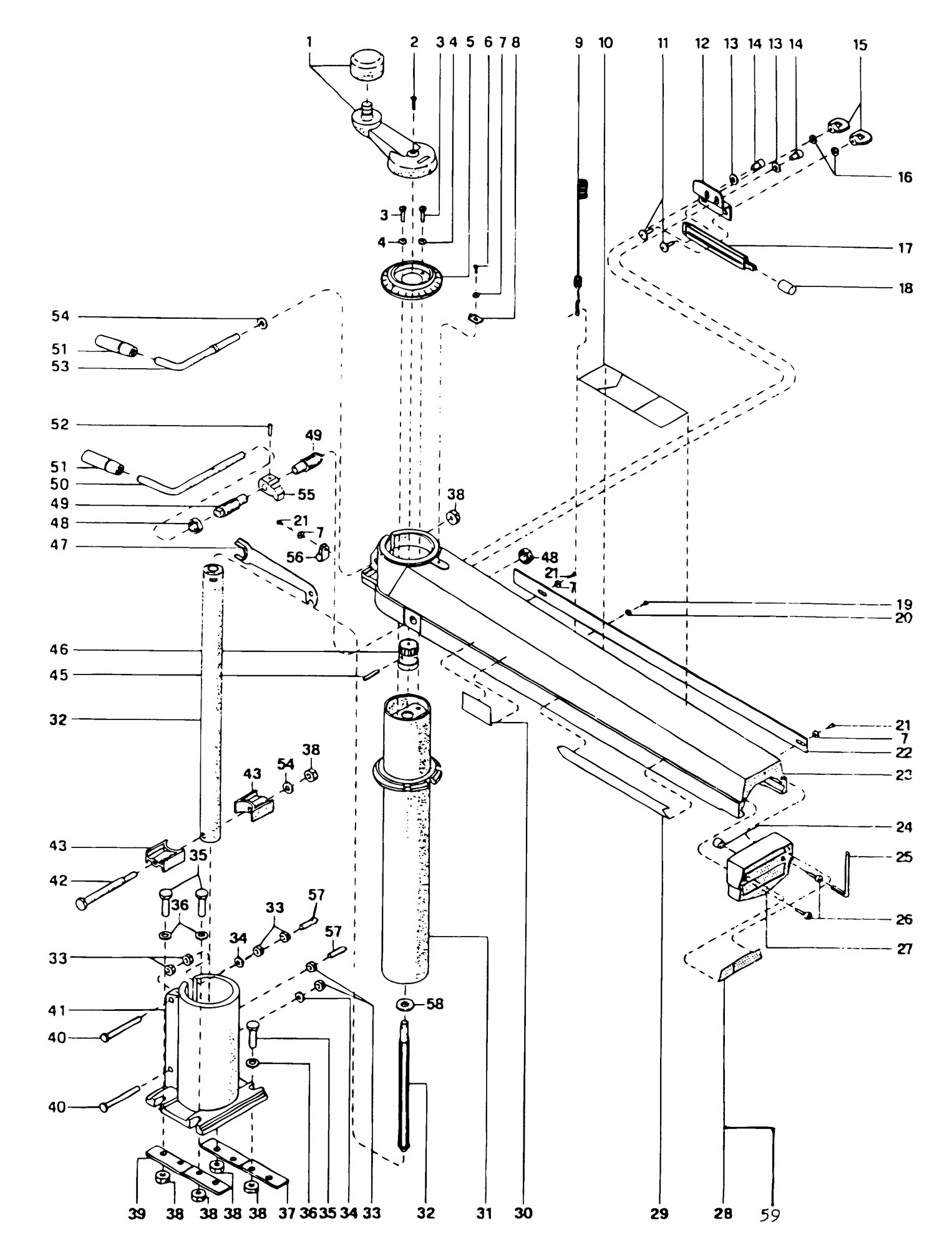 Spares for Dewalt Dw8001----a Radial Arm Saw (type 1