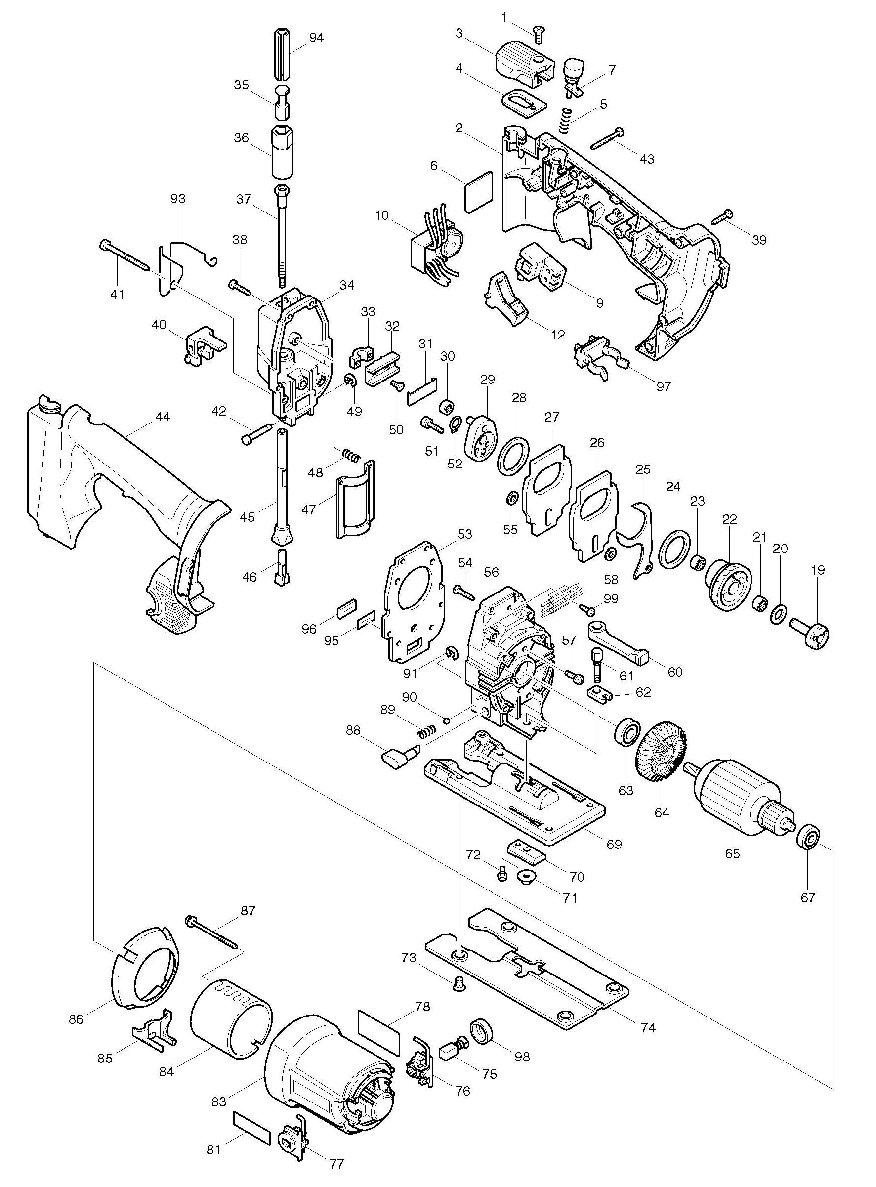 Spares for Makita 4334d Cordless Variable Speed Jigsaw