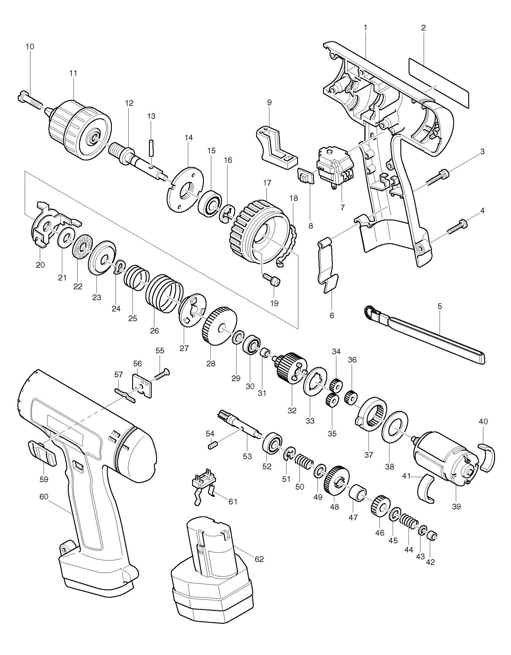Spares for Makita 6201d Drill/driver SPARE_6201D from