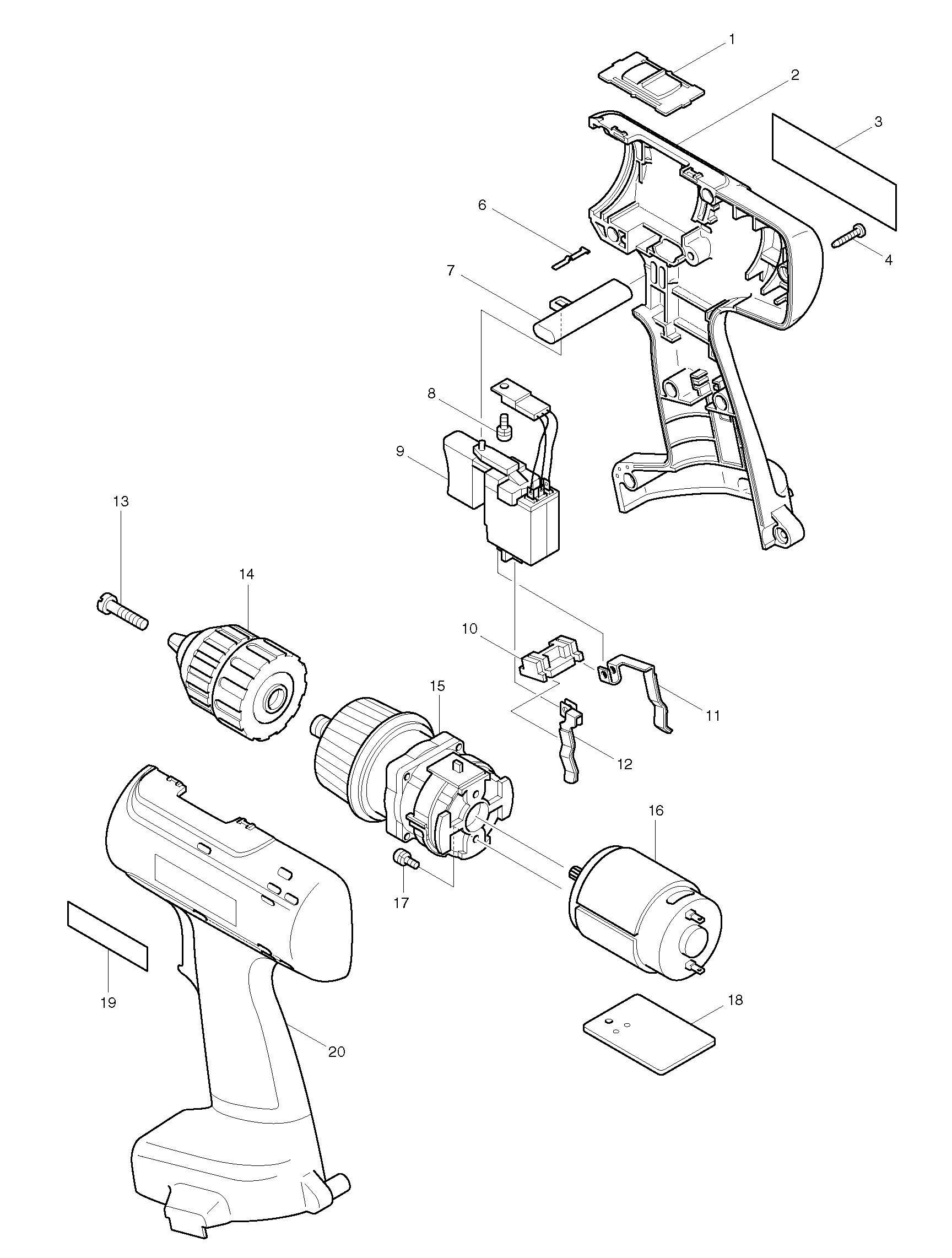 Spares for Makita 6228d Drill/driver SPARE_6228D from
