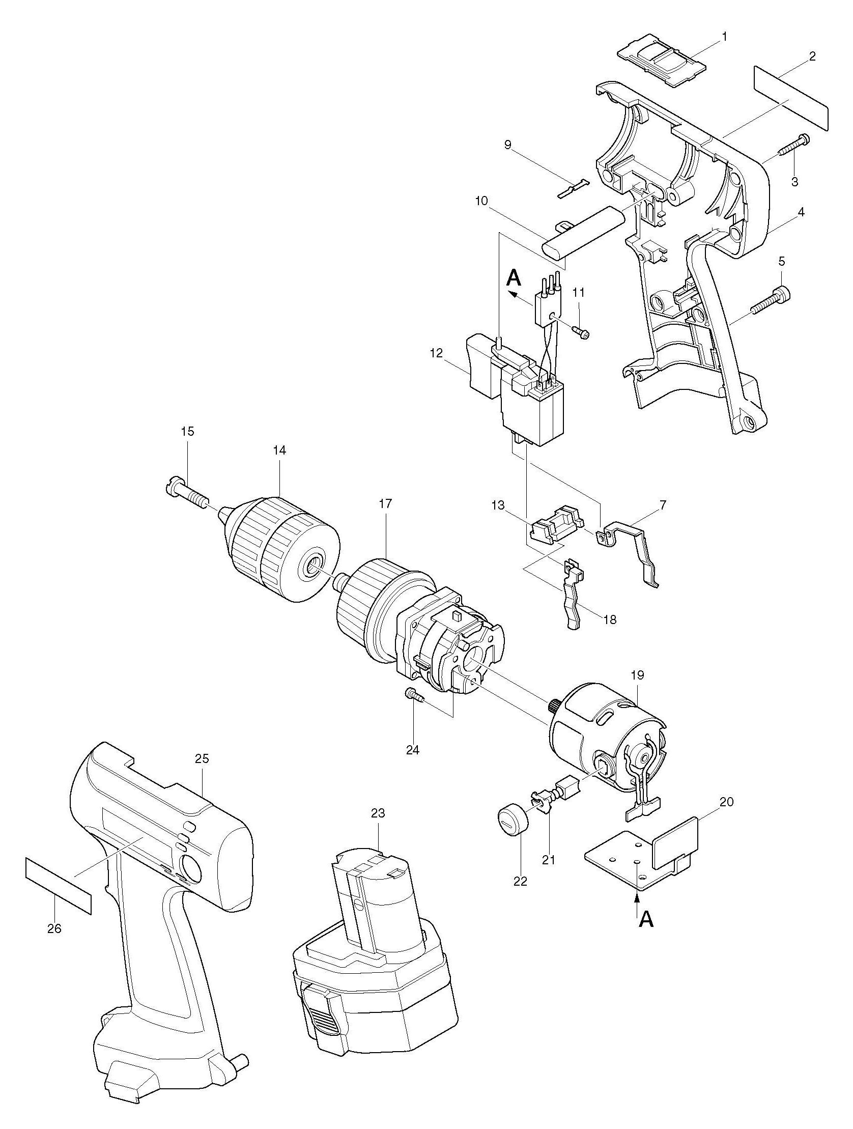 Spares for Makita 6314d Drill/driver SPARE_6314D from