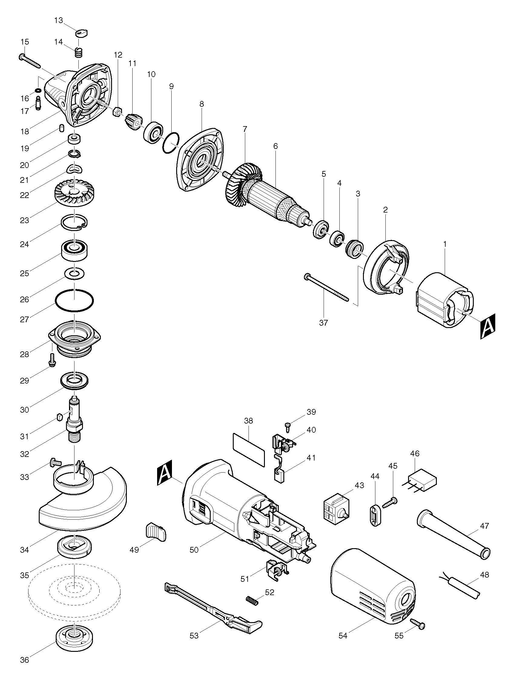 Spares For Makita Nb 115mm 4 5 Angle Grinder 110v