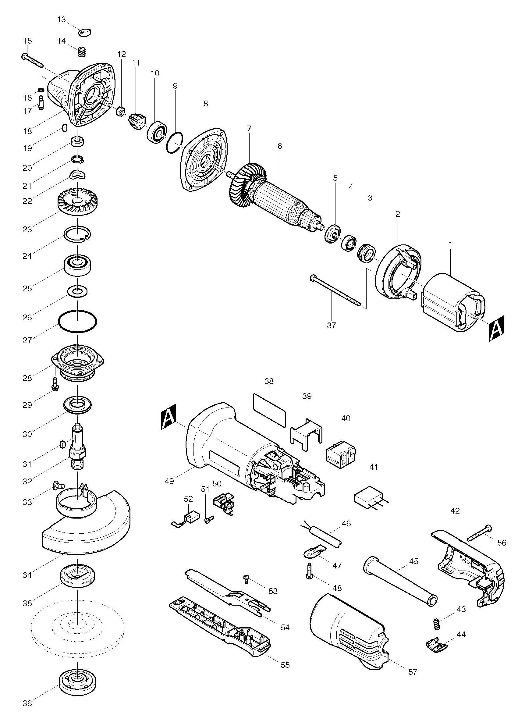 Spares for Makita 9557pb 115mm Angle Grinder SPARE_9557PB