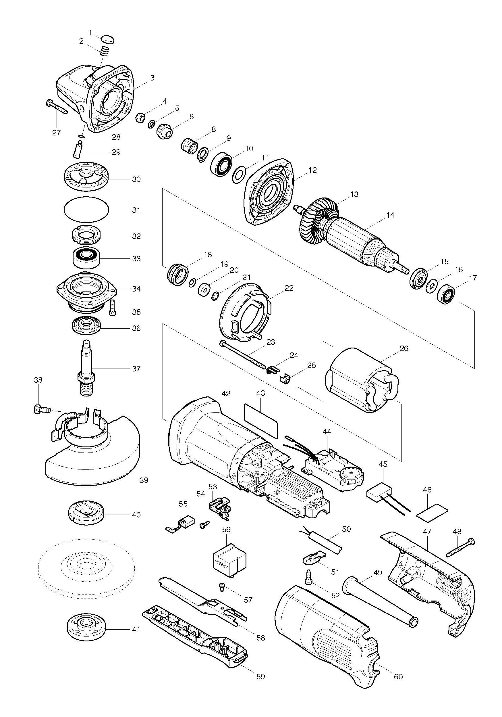 Spares For Makita Pcv 115mm Angle Grinder Spare