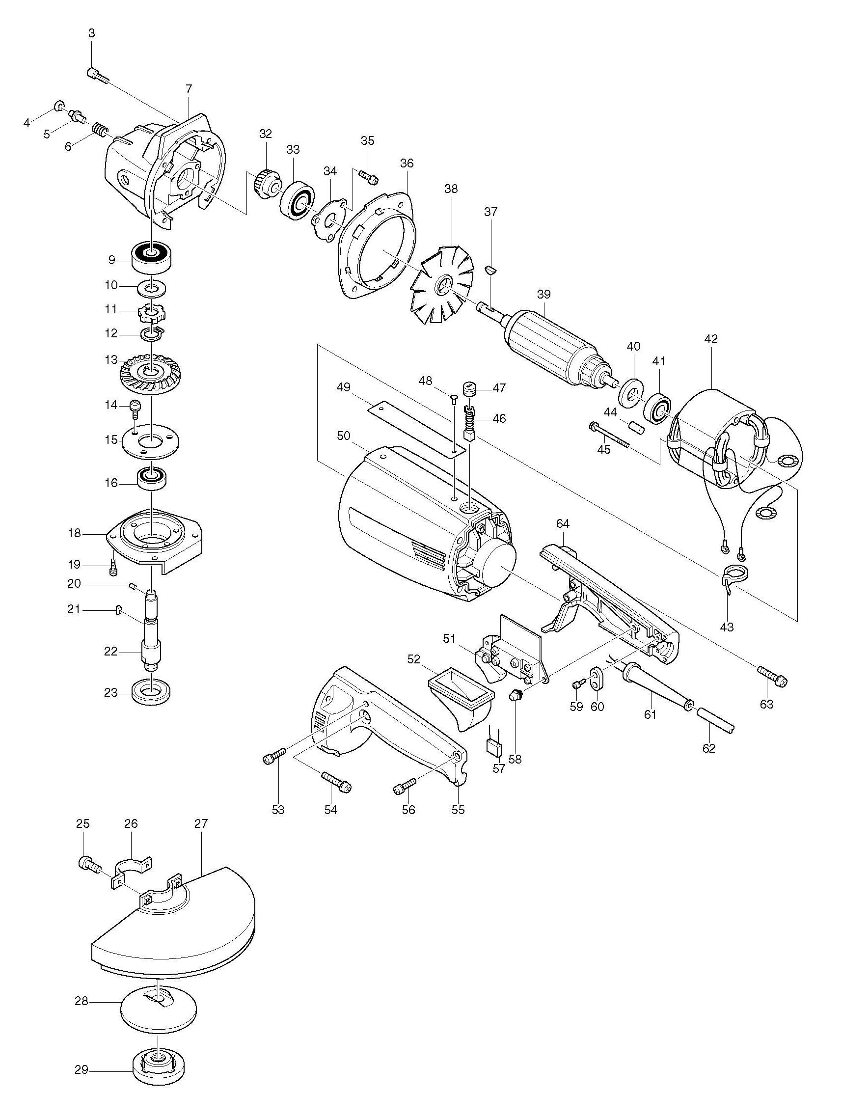 Spares For Makita B Angle Grinder Spare B From